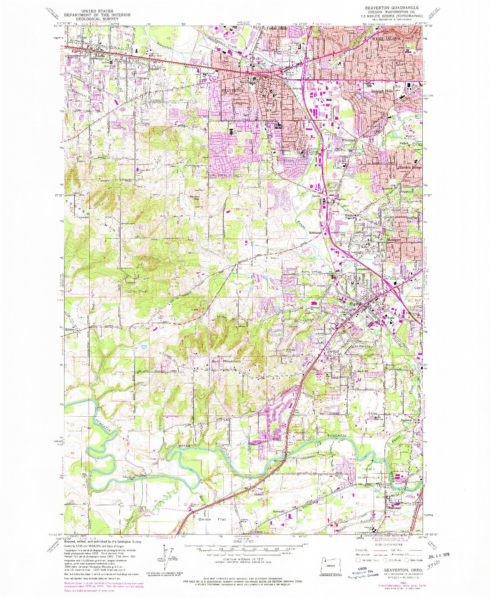 USGS 1:24000-SCALE QUADRANGLE FOR BEAVERTON, OR 1961