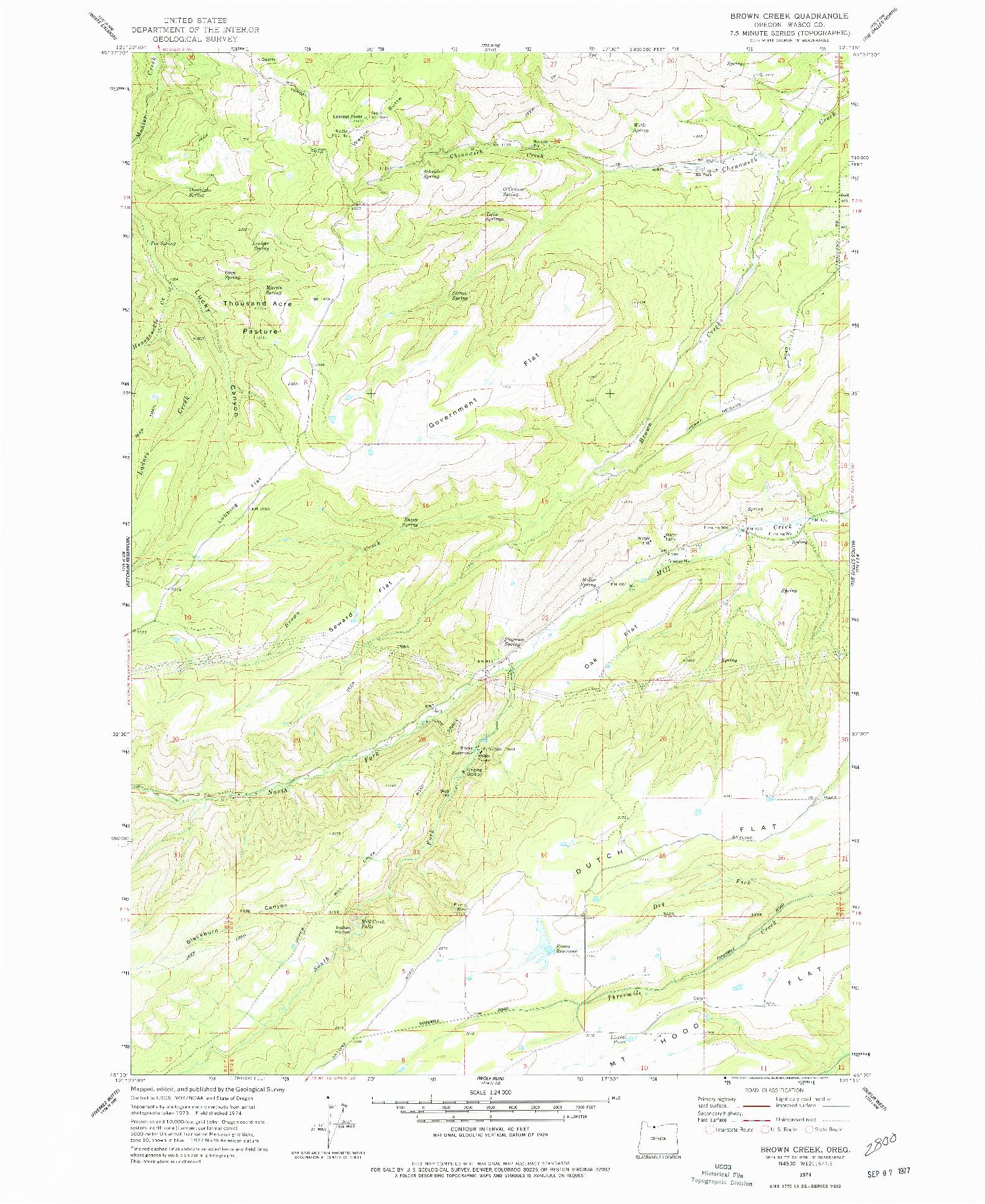 USGS 1:24000-SCALE QUADRANGLE FOR BROWN CREEK, OR 1974
