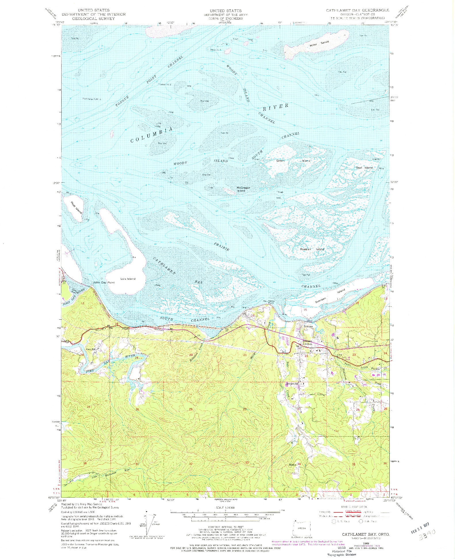 USGS 1:24000-SCALE QUADRANGLE FOR CATHLAMET BAY, OR 1949
