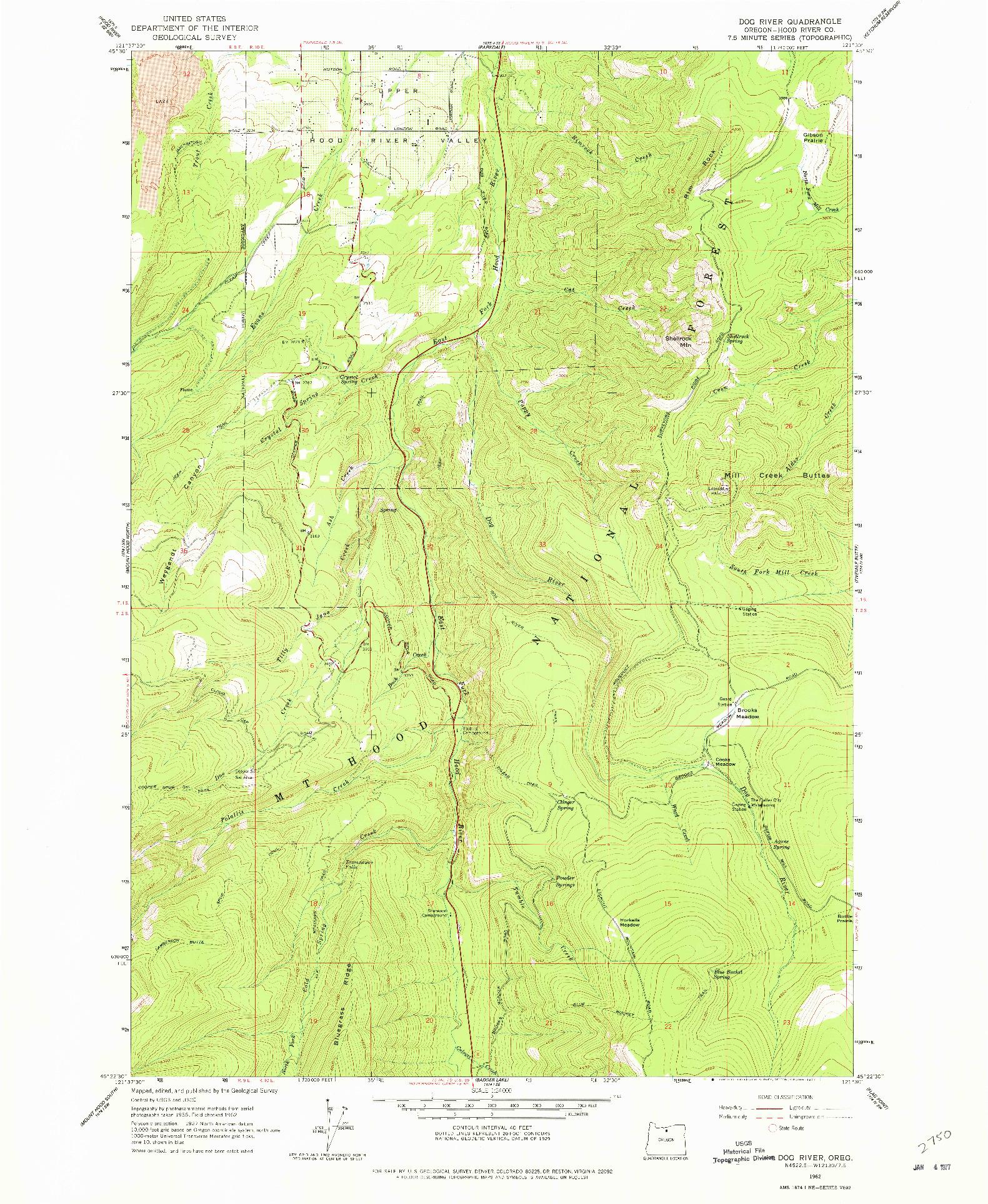 USGS 1:24000-SCALE QUADRANGLE FOR DOG RIVER, OR 1962