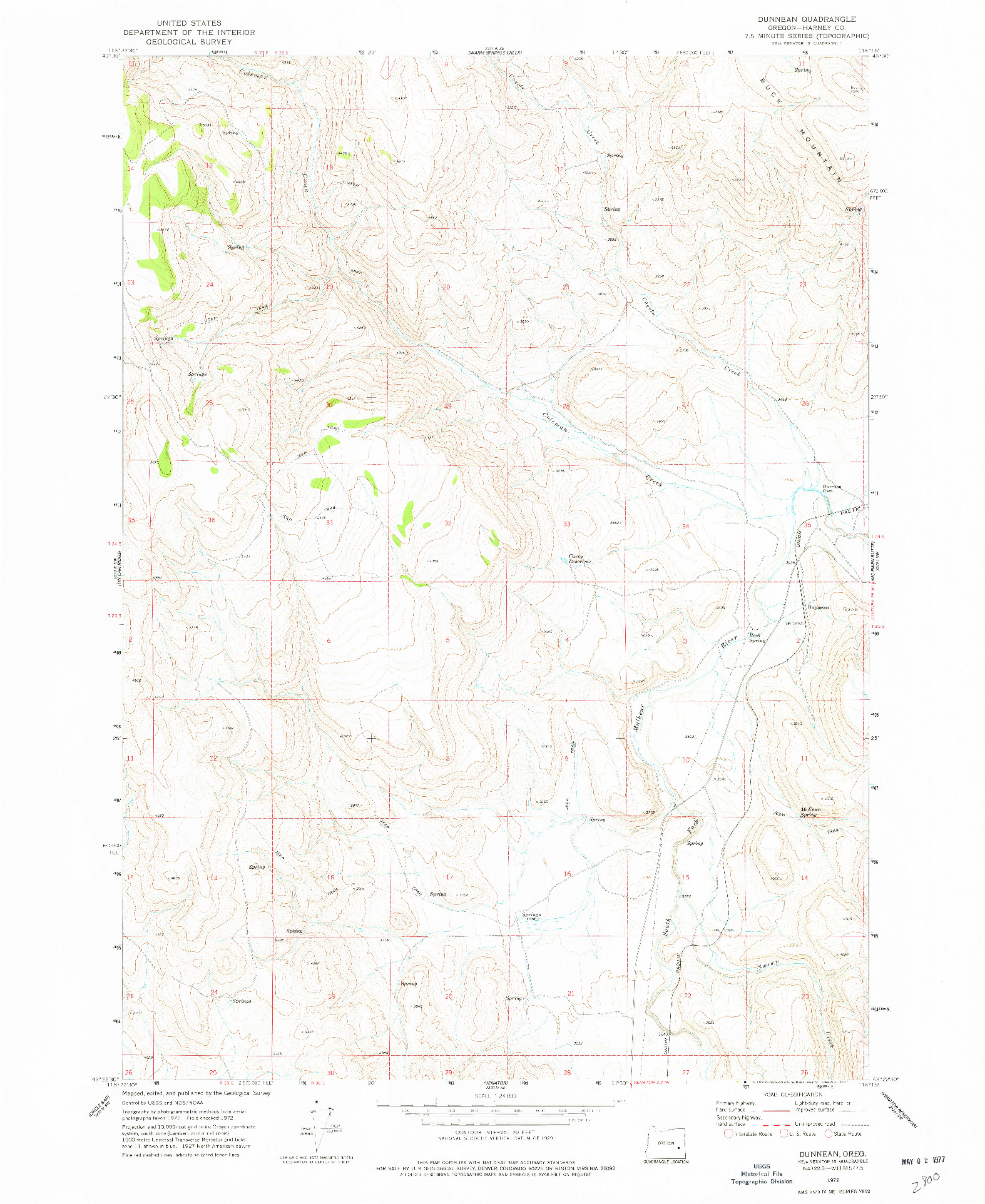 USGS 1:24000-SCALE QUADRANGLE FOR DUNNEAN, OR 1972