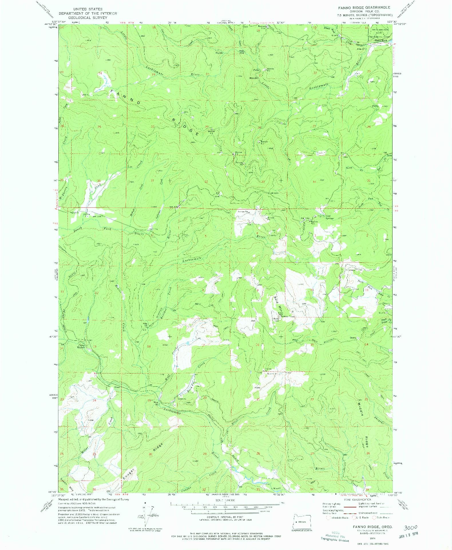 USGS 1:24000-SCALE QUADRANGLE FOR FANNO RIDGE, OR 1974