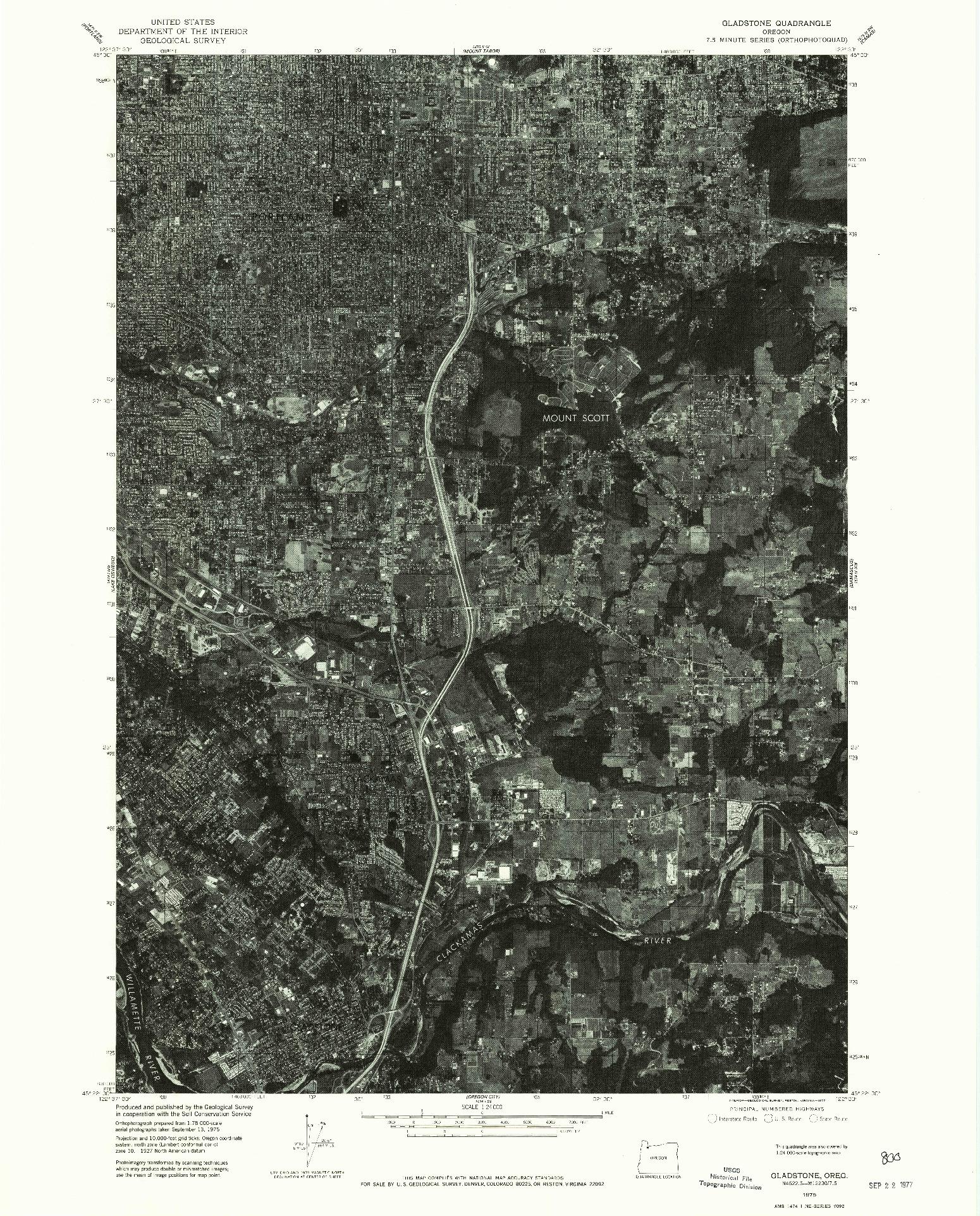 USGS 1:24000-SCALE QUADRANGLE FOR GLADSTONE, OR 1975