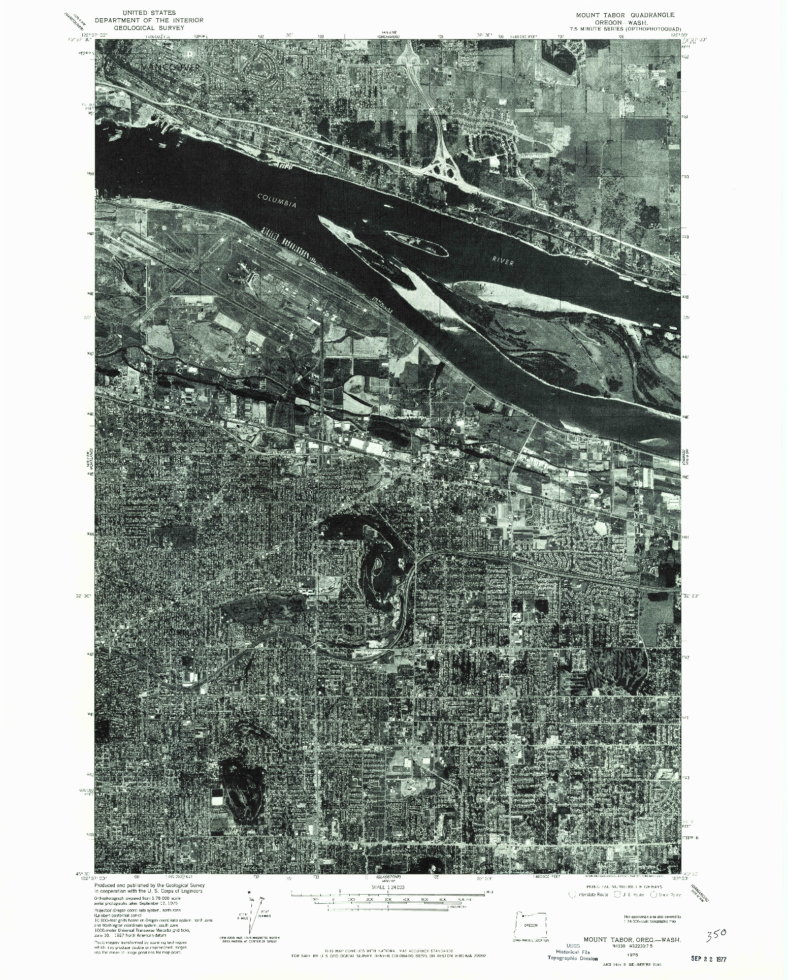 USGS 1:24000-SCALE QUADRANGLE FOR MOUNT TABOR, OR 1975