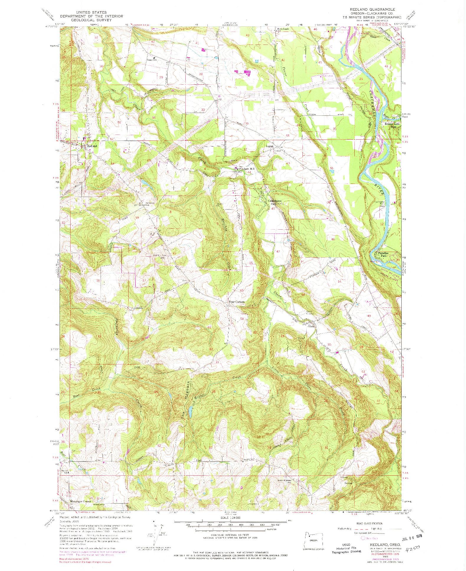 USGS 1:24000-SCALE QUADRANGLE FOR REDLAND, OR 1961