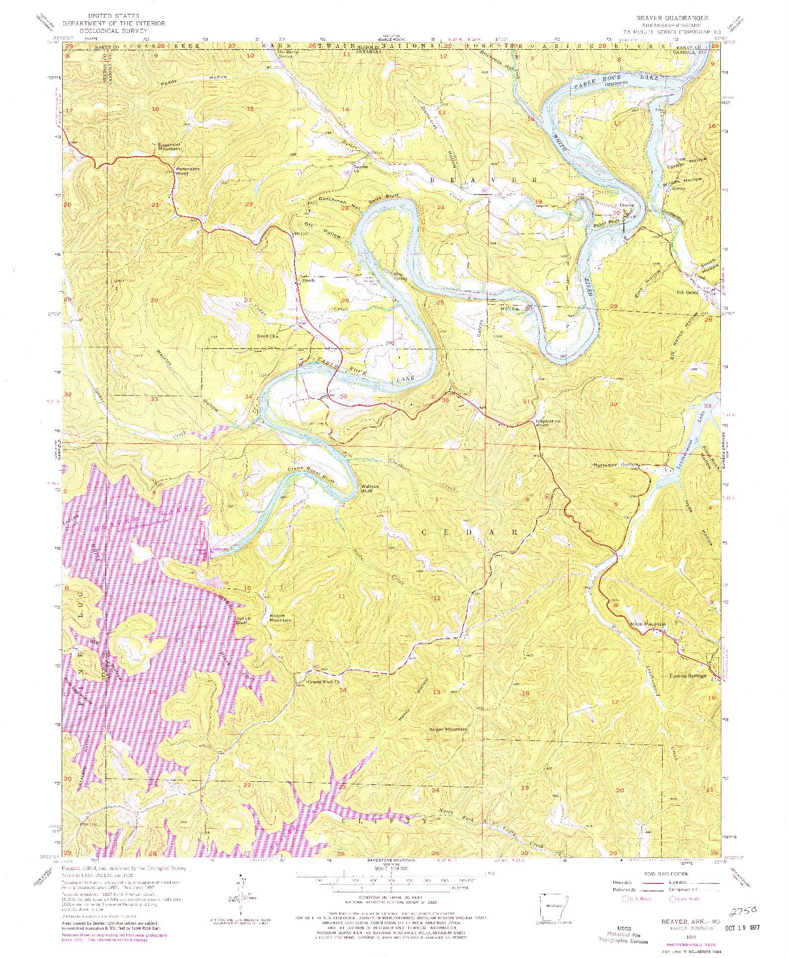 USGS 1:24000-SCALE QUADRANGLE FOR BEAVER, AR 1957