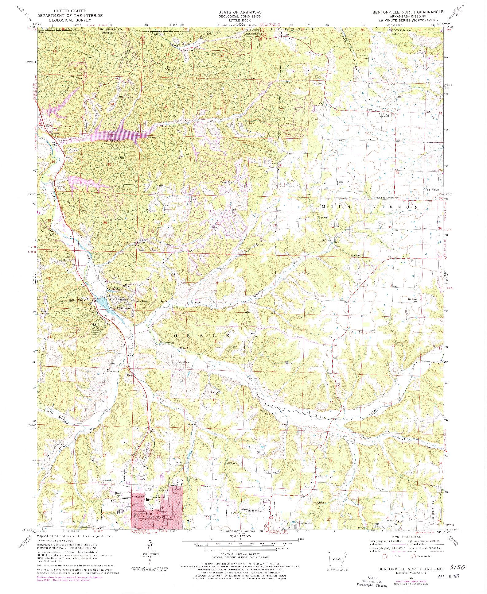 USGS 1:24000-SCALE QUADRANGLE FOR BENTONVILLE NORTH, AR 1970