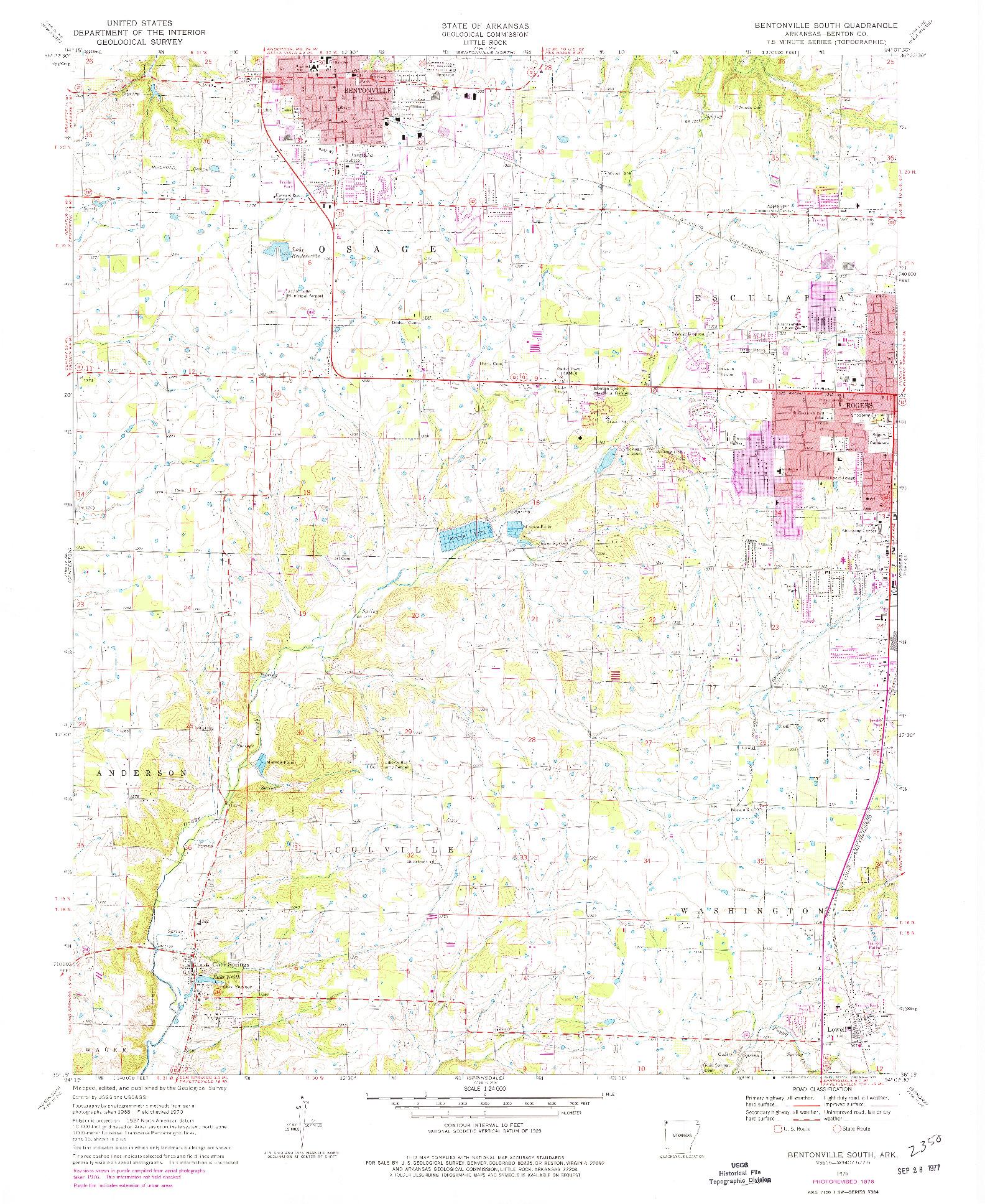 USGS 1:24000-SCALE QUADRANGLE FOR BENTONVILLE SOUTH, AR 1970