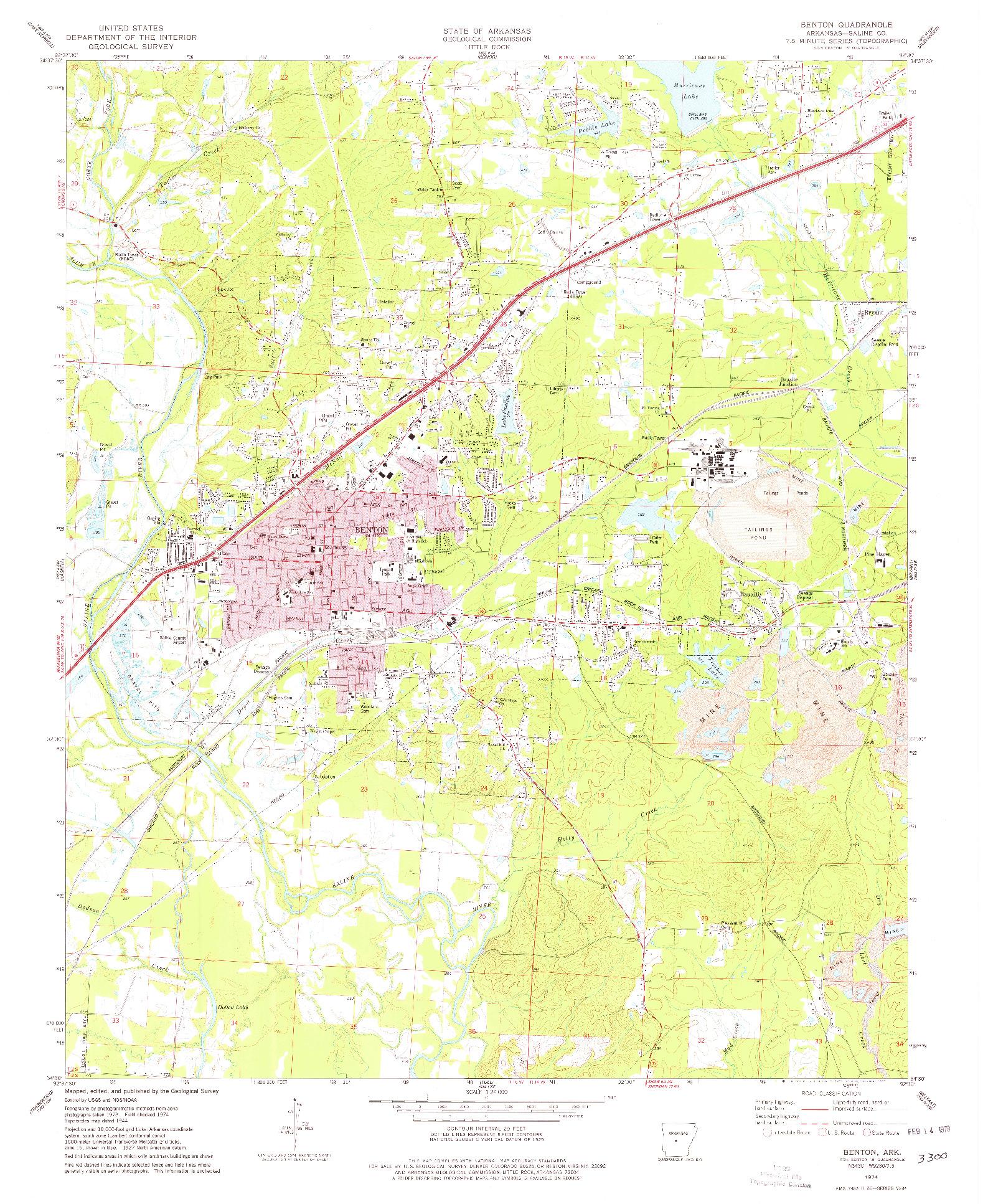 USGS 1:24000-SCALE QUADRANGLE FOR BENTON, AR 1974