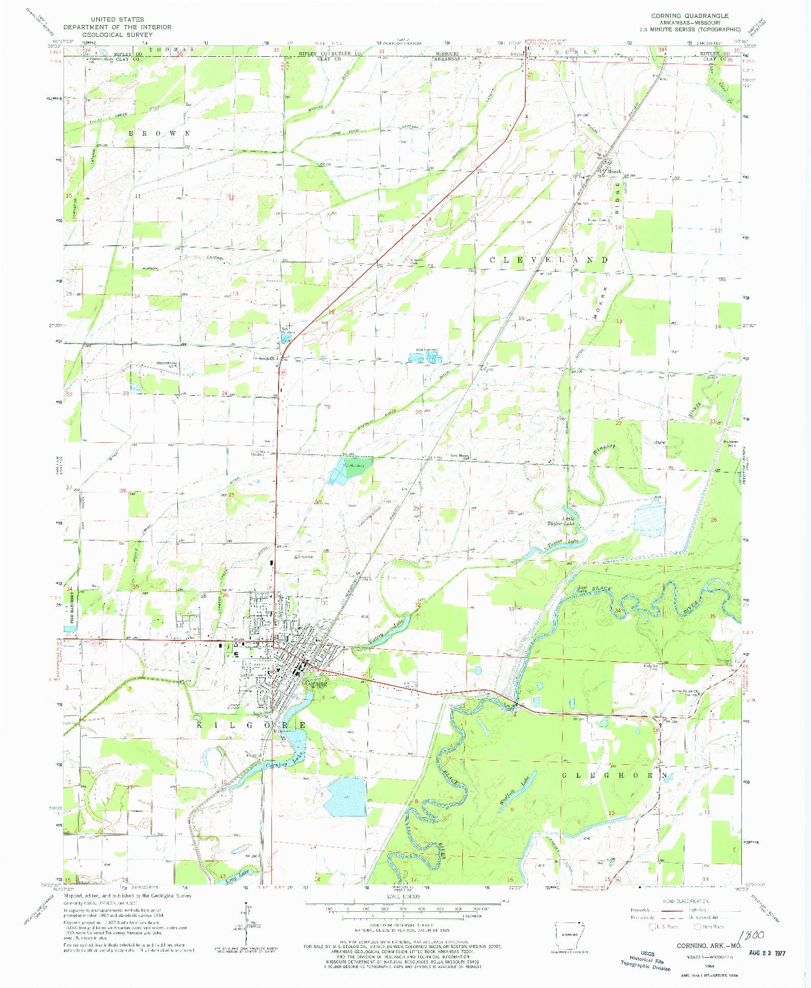 USGS 1:24000-SCALE QUADRANGLE FOR CORNING, AR 1964