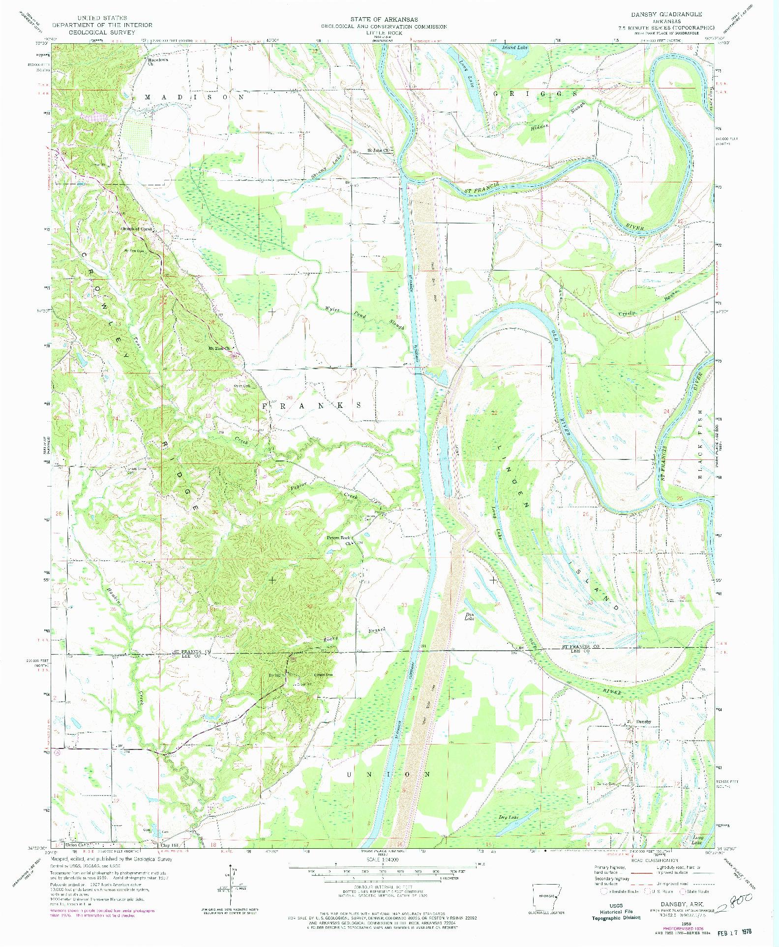 USGS 1:24000-SCALE QUADRANGLE FOR DANSBY, AR 1959