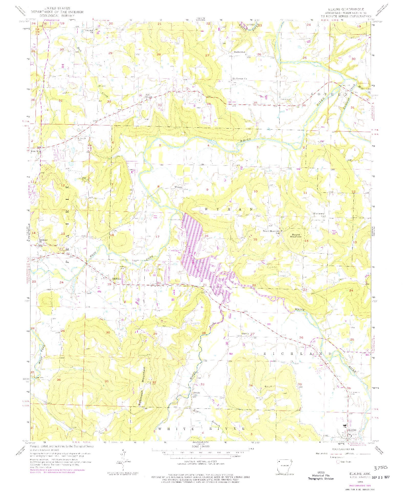 USGS 1:24000-SCALE QUADRANGLE FOR ELKINS, AR 1958