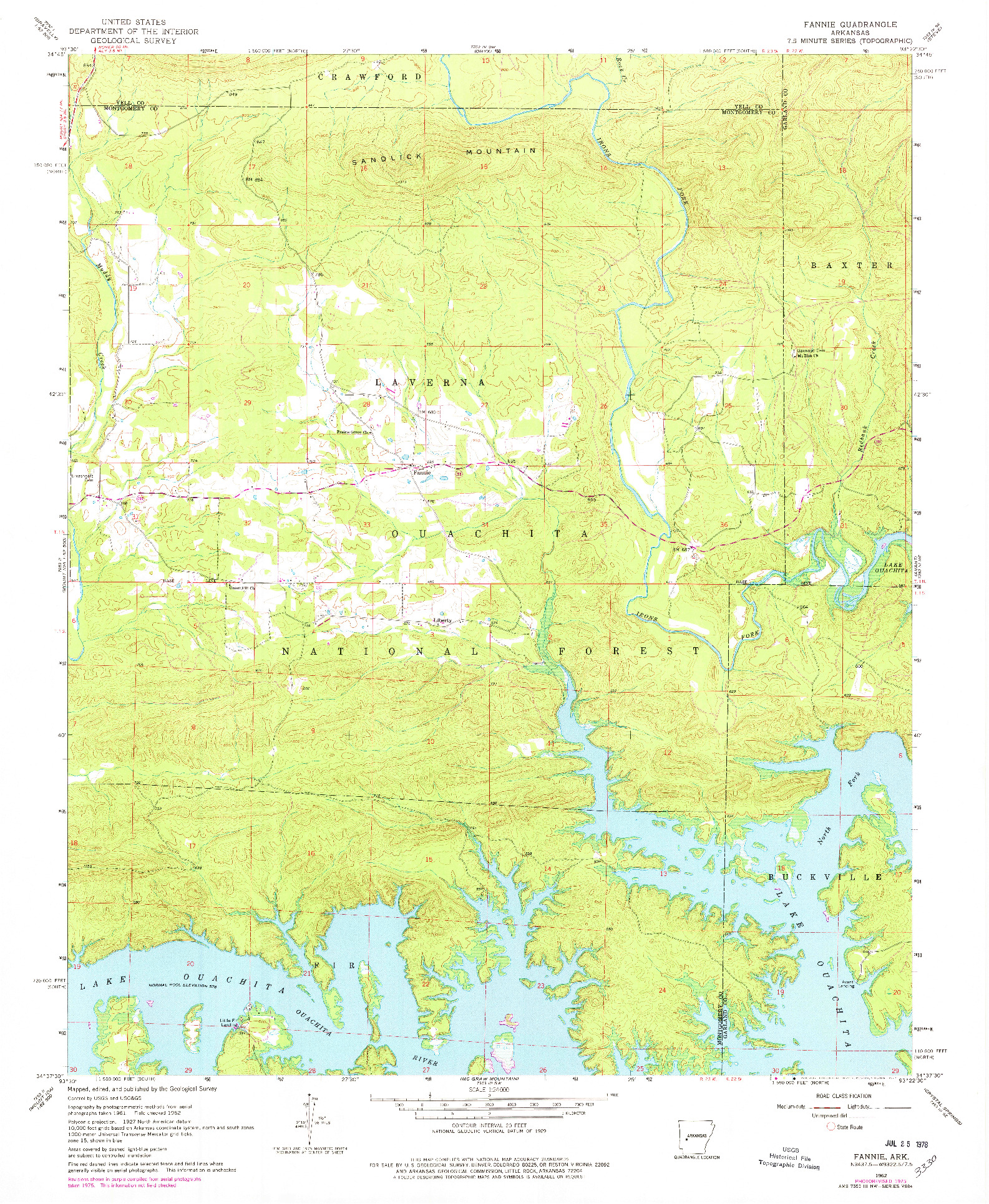 USGS 1:24000-SCALE QUADRANGLE FOR FANNIE, AR 1962