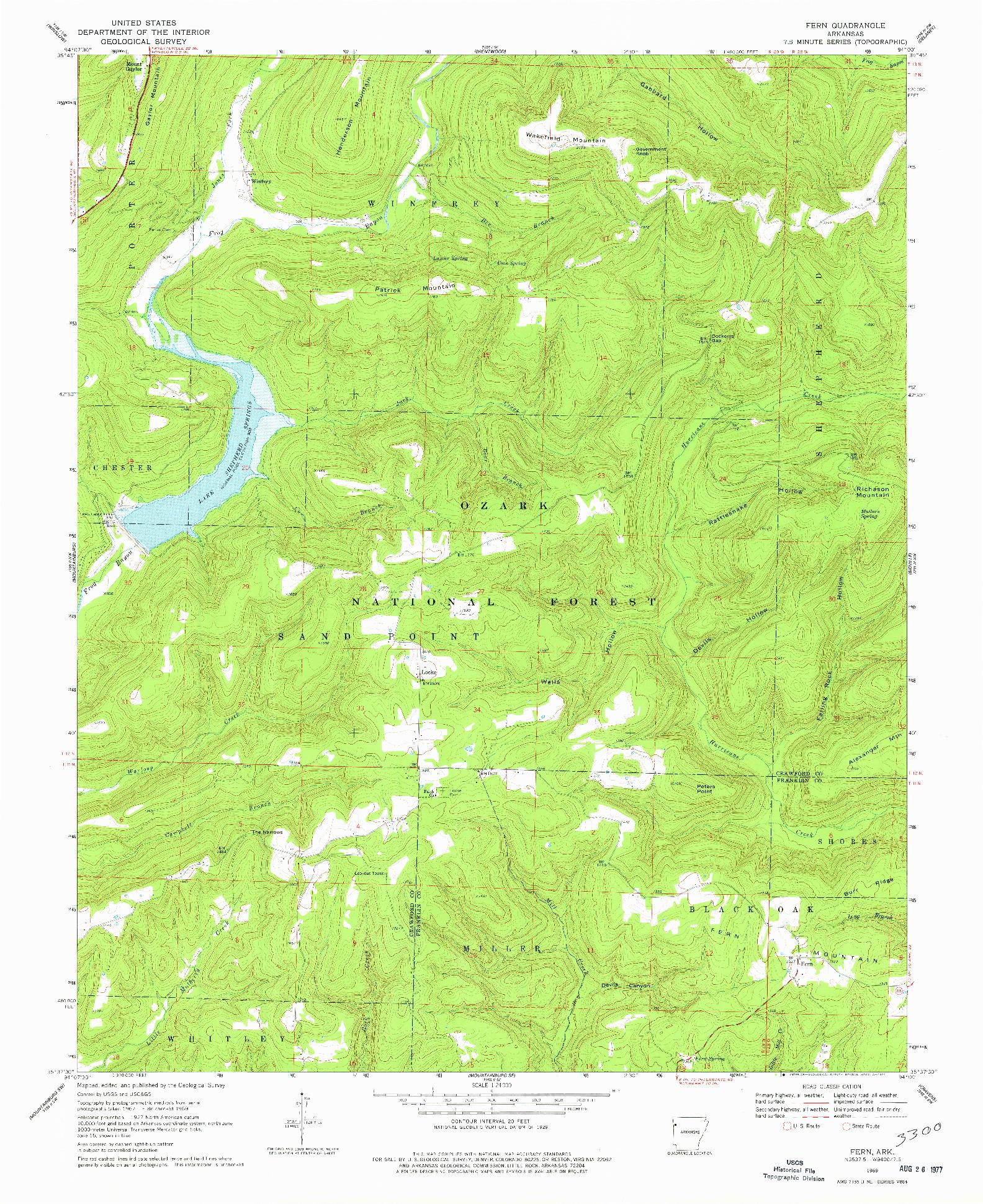 USGS 1:24000-SCALE QUADRANGLE FOR FERN, AR 1969