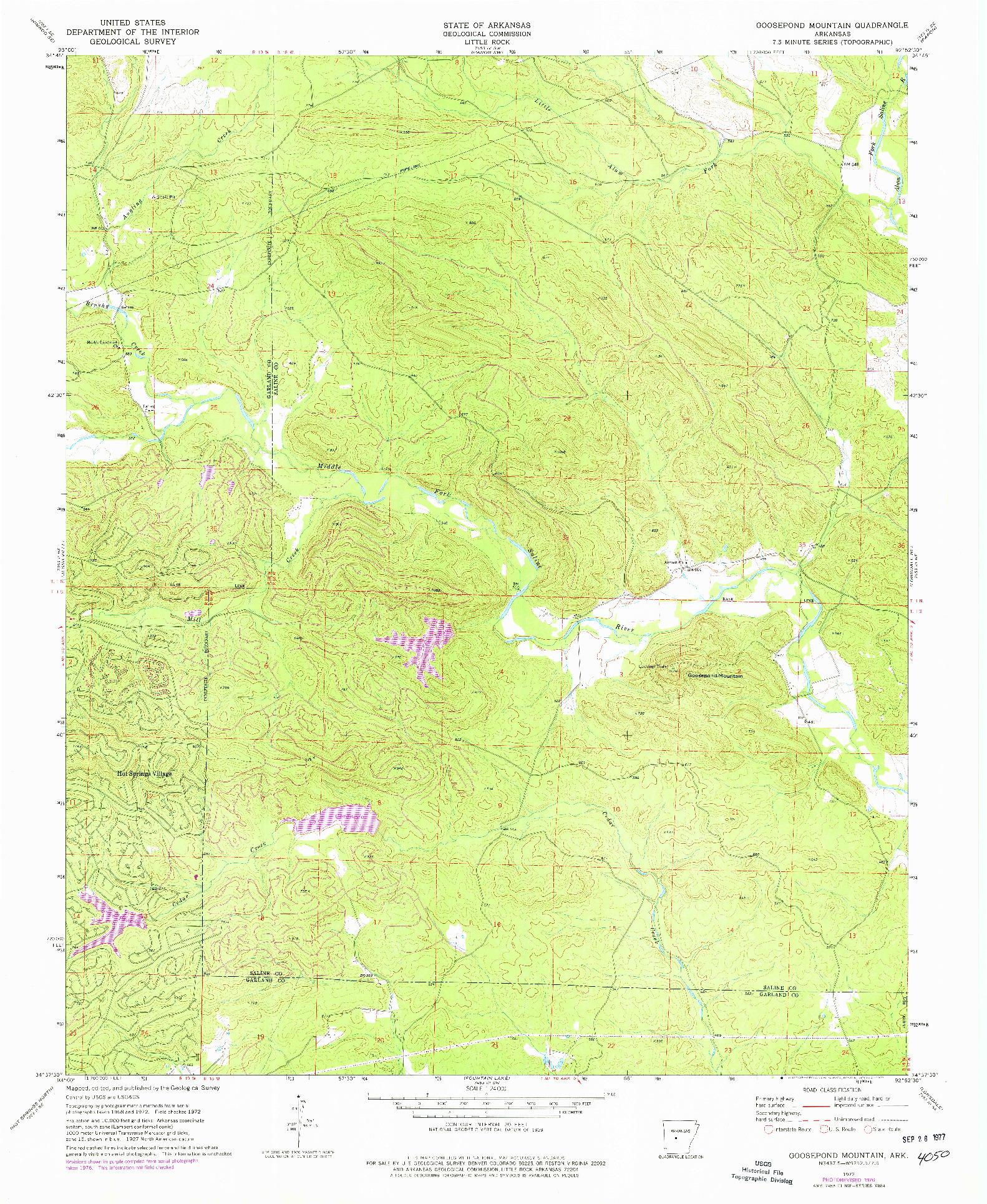 USGS 1:24000-SCALE QUADRANGLE FOR GOOSEPOND MOUNTAIN, AR 1972