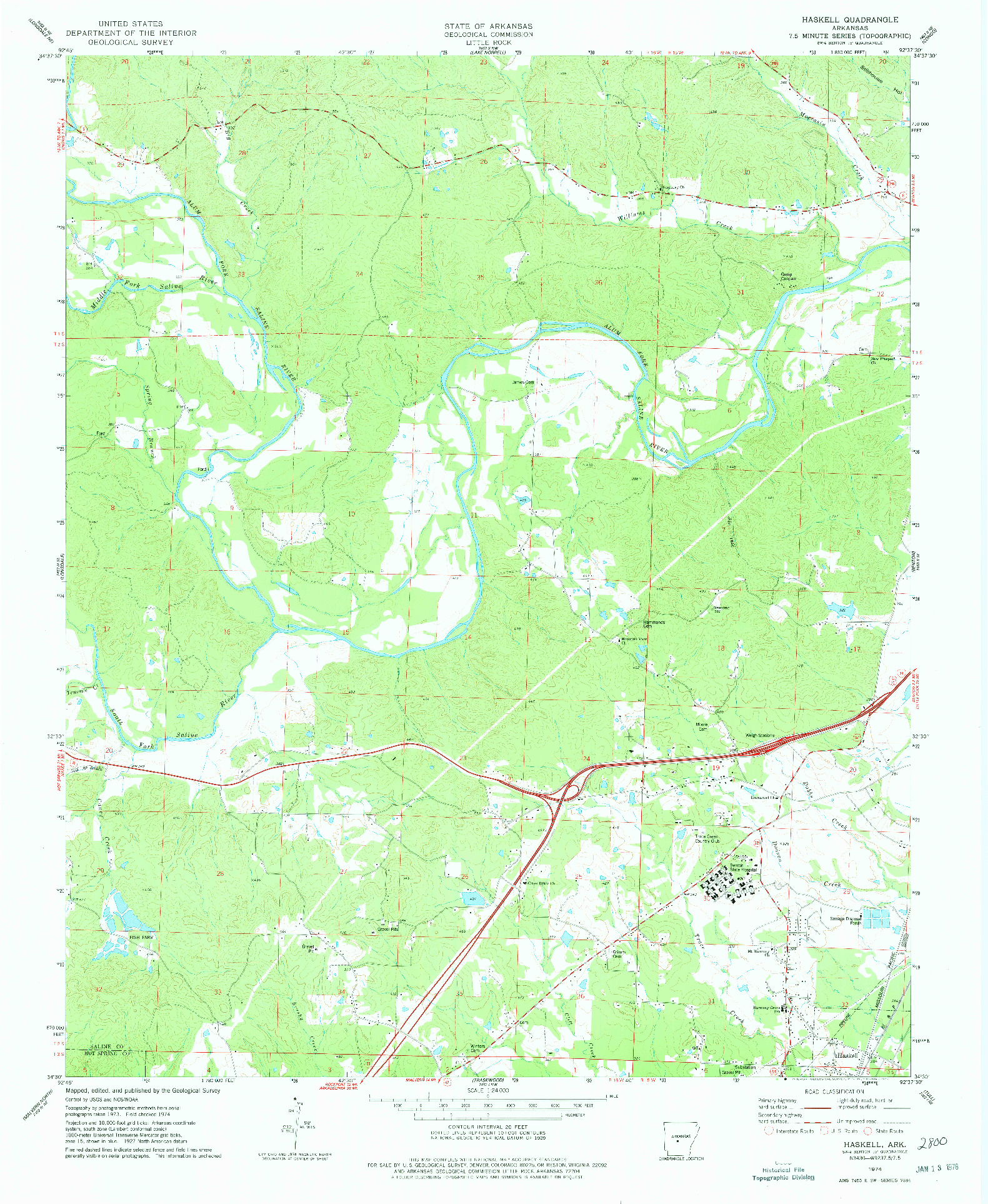 USGS 1:24000-SCALE QUADRANGLE FOR HASKELL, AR 1974