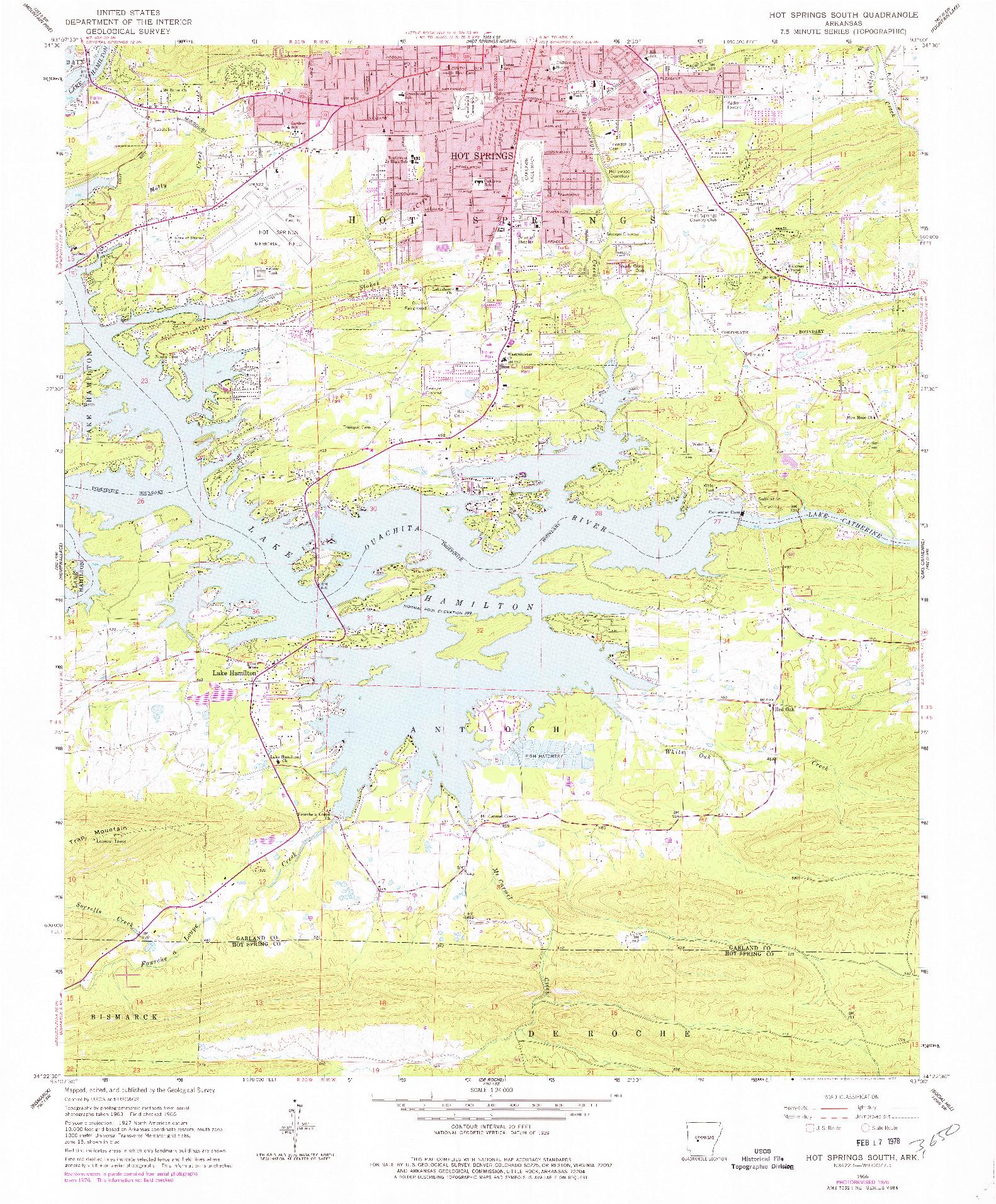 USGS 1:24000-SCALE QUADRANGLE FOR HOT SPRINGS SOUTH, AR 1966