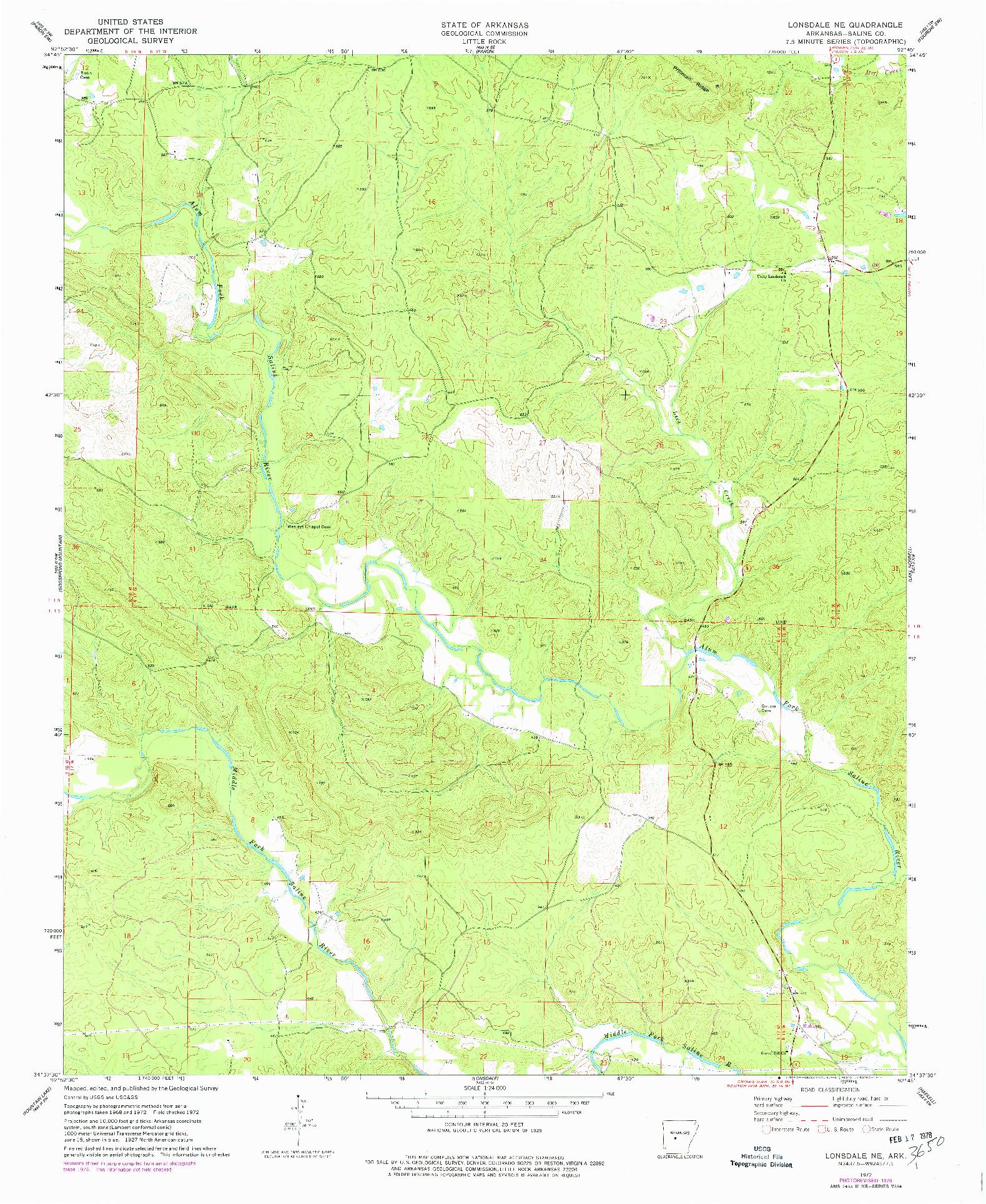 USGS 1:24000-SCALE QUADRANGLE FOR LONSDALE NE, AR 1972