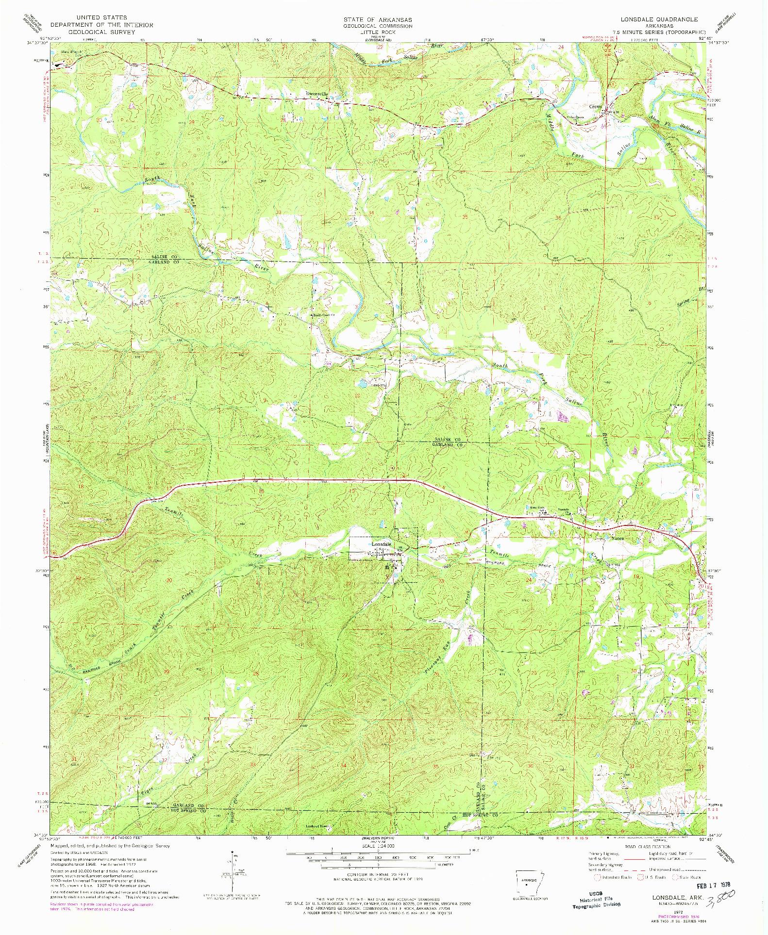 USGS 1:24000-SCALE QUADRANGLE FOR LONSDALE, AR 1972