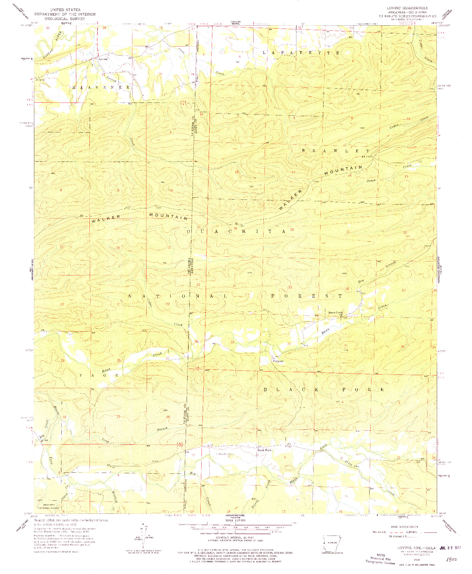 USGS 1:24000-SCALE QUADRANGLE FOR LOVING, AR 1958