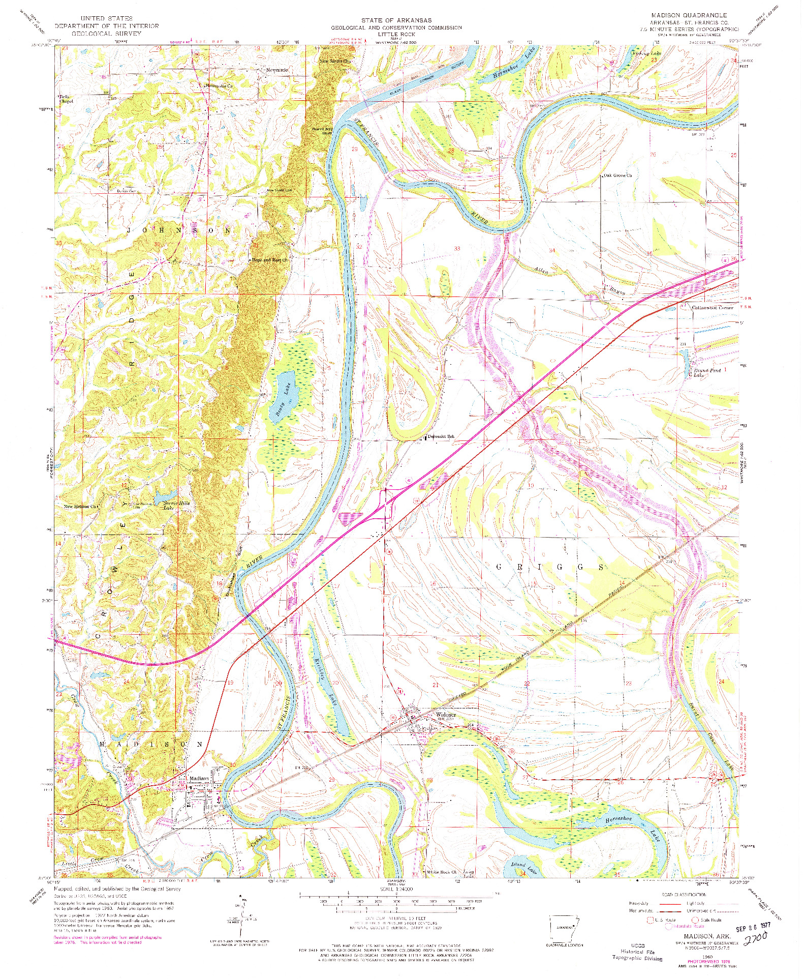USGS 1:24000-SCALE QUADRANGLE FOR MADISON, AR 1960