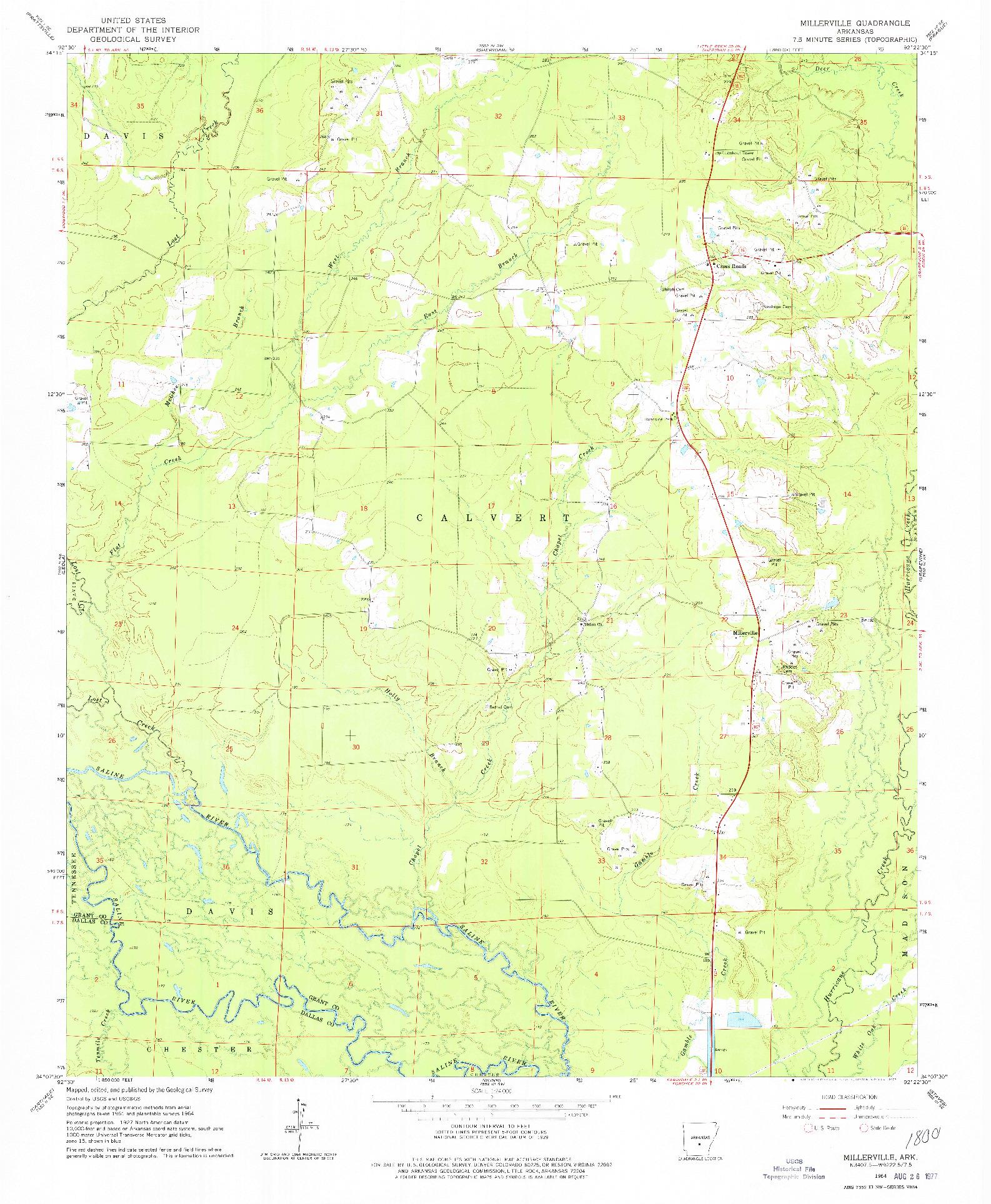 USGS 1:24000-SCALE QUADRANGLE FOR MILLERVILLE, AR 1964