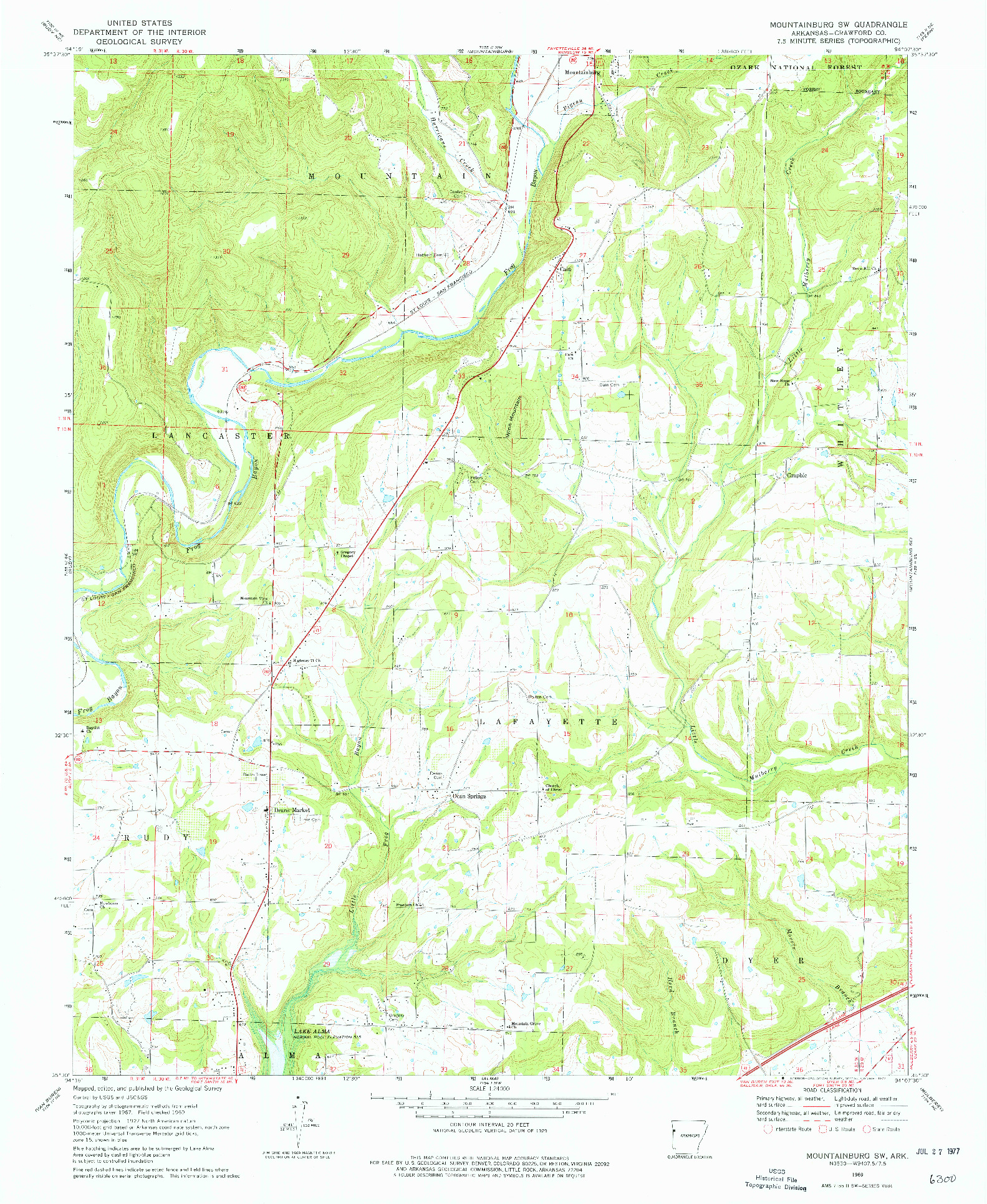 USGS 1:24000-SCALE QUADRANGLE FOR MOUNTAINBURG SW, AR 1969