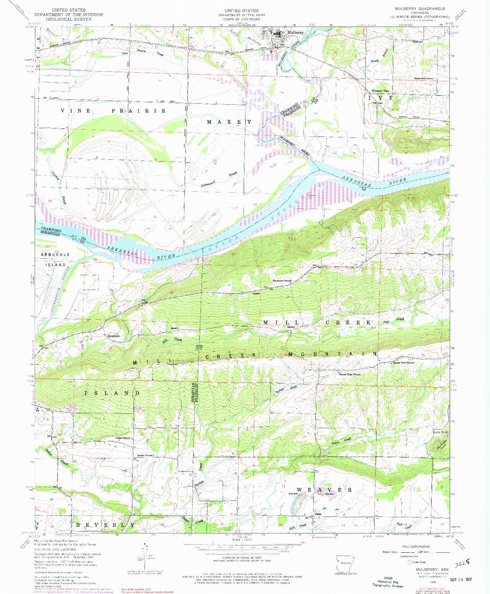 USGS 1:24000-SCALE QUADRANGLE FOR MULBERRY, AR 1948