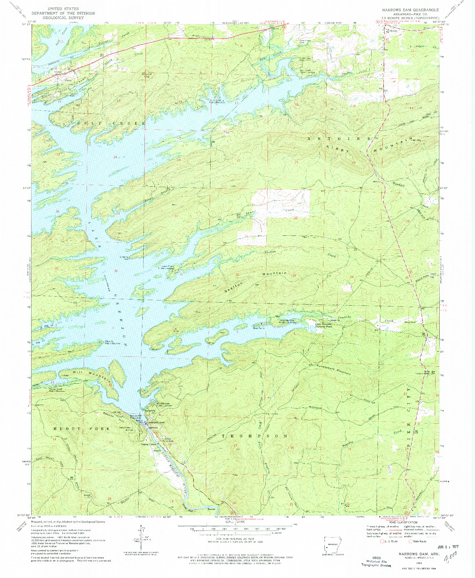 USGS 1:24000-SCALE QUADRANGLE FOR NARROWS DAM, AR 1969