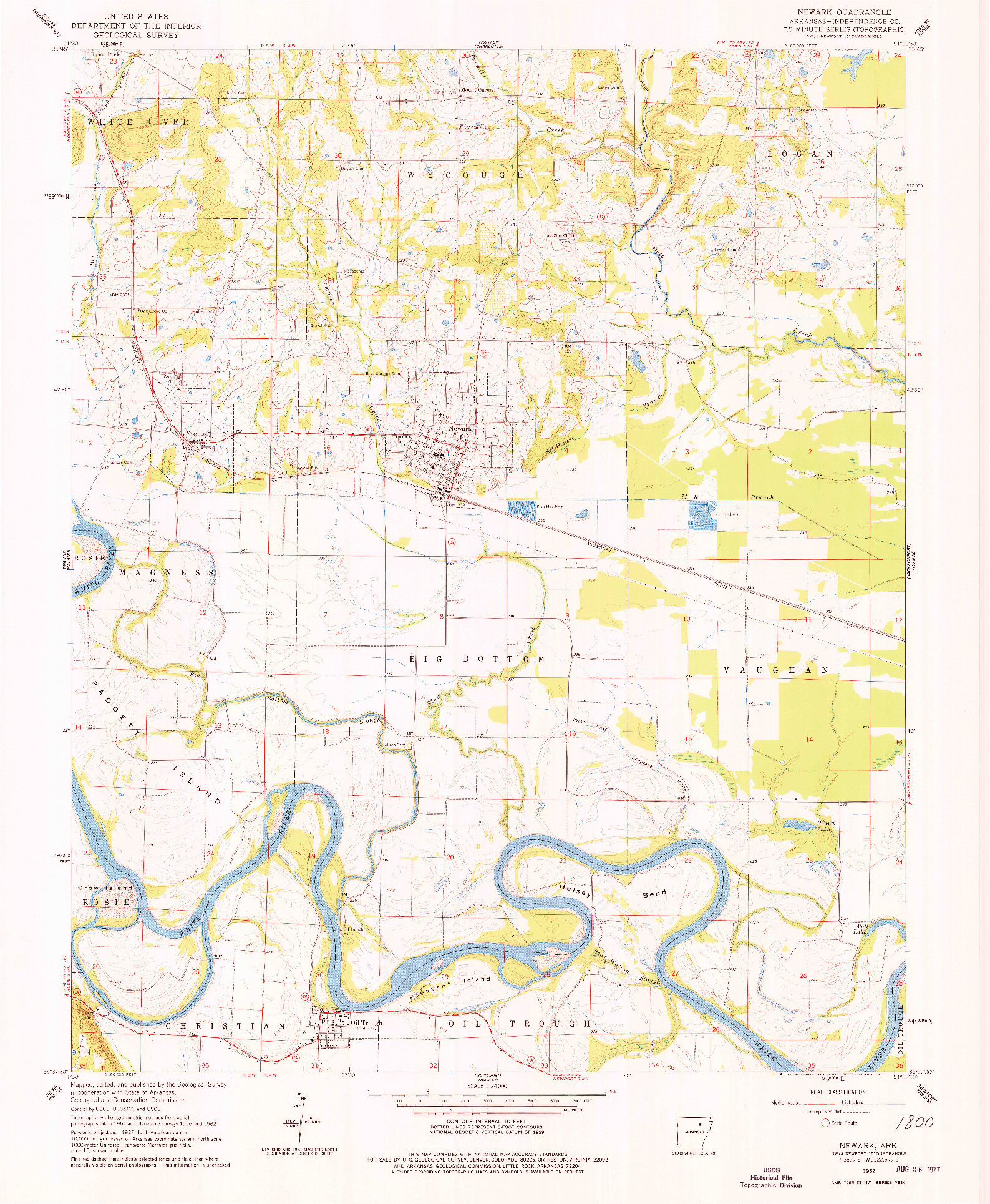 USGS 1:24000-SCALE QUADRANGLE FOR NEWARK, AR 1962