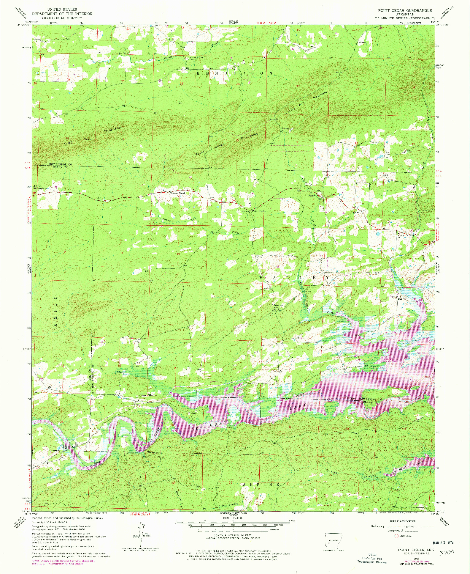 USGS 1:24000-SCALE QUADRANGLE FOR POINT CEDAR, AR 1966