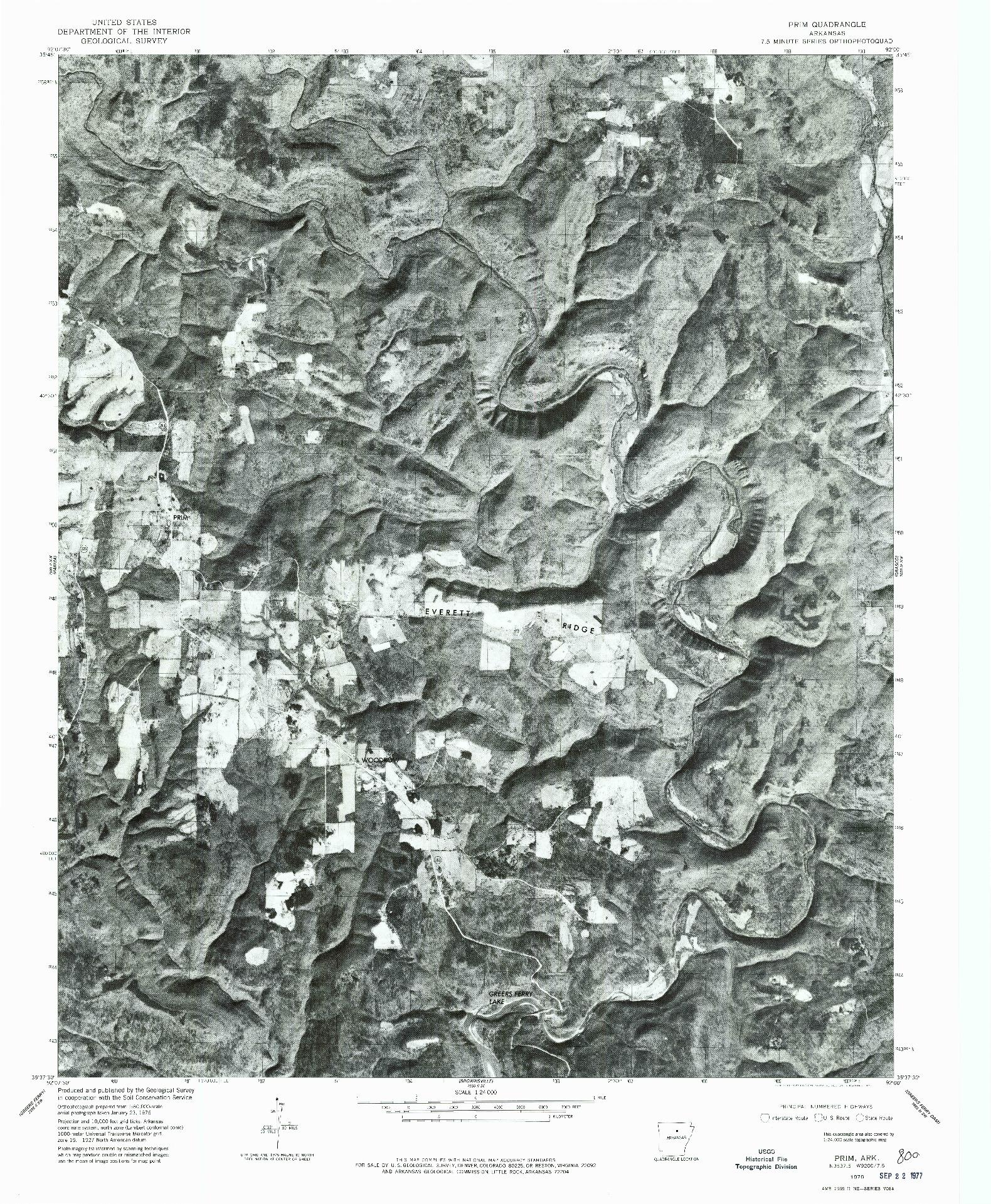 USGS 1:24000-SCALE QUADRANGLE FOR PRIM, AR 1976