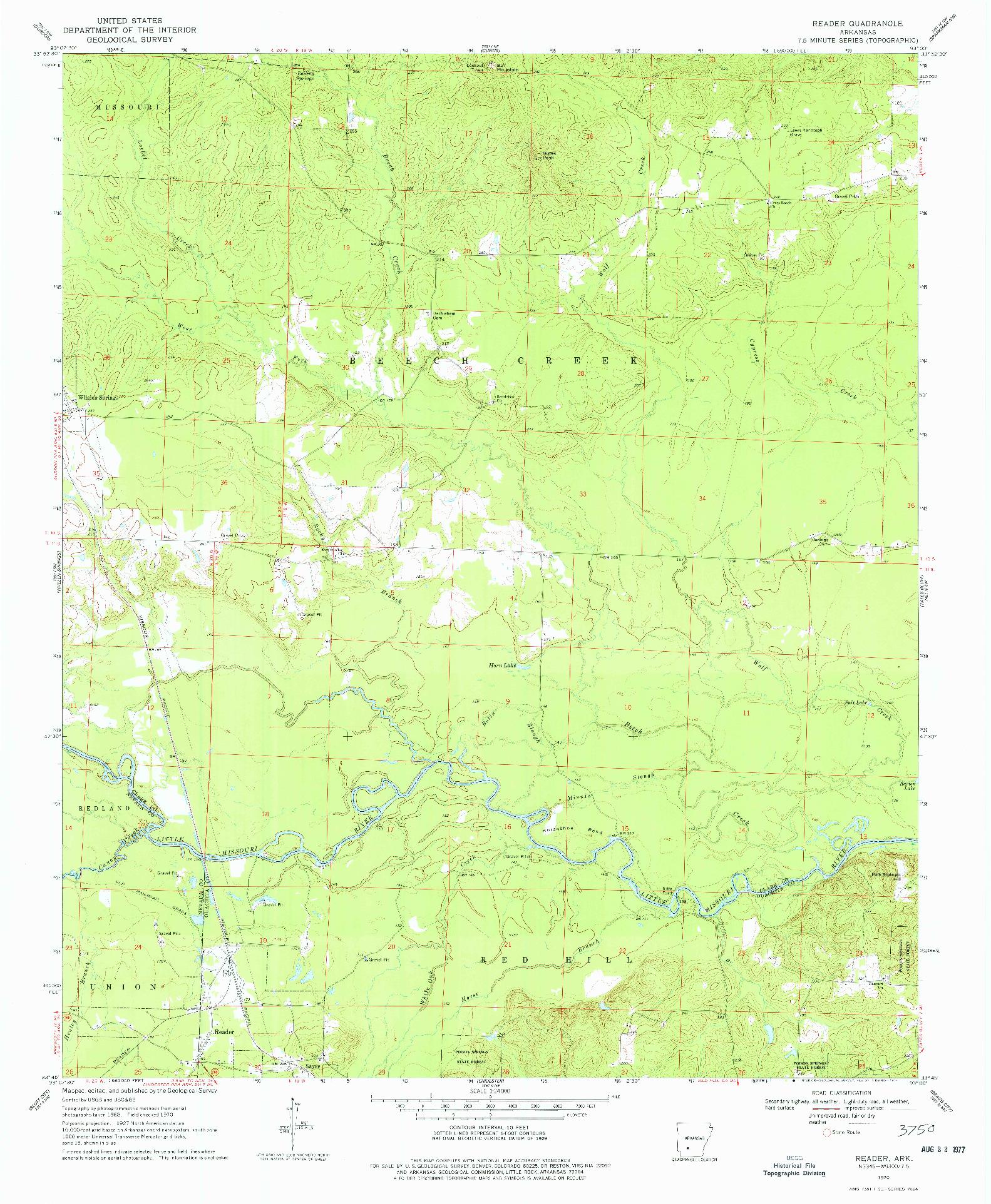 USGS 1:24000-SCALE QUADRANGLE FOR READER, AR 1970