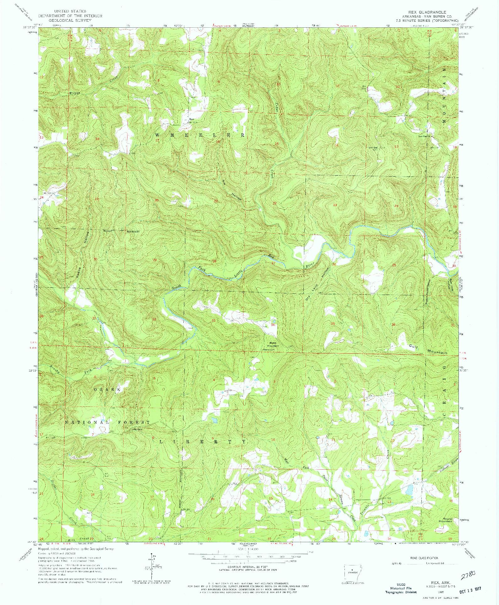 USGS 1:24000-SCALE QUADRANGLE FOR REX, AR 1965