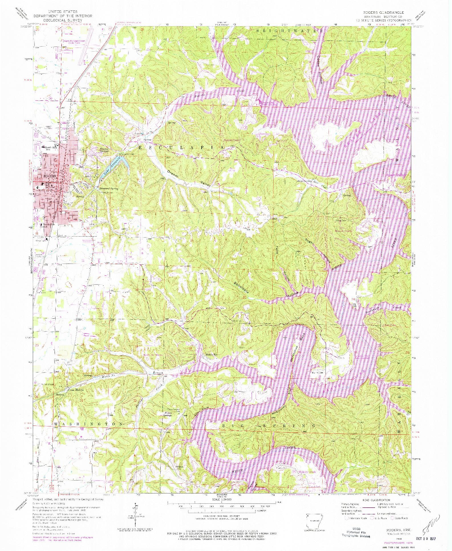 USGS 1:24000-SCALE QUADRANGLE FOR ROGERS, AR 1958