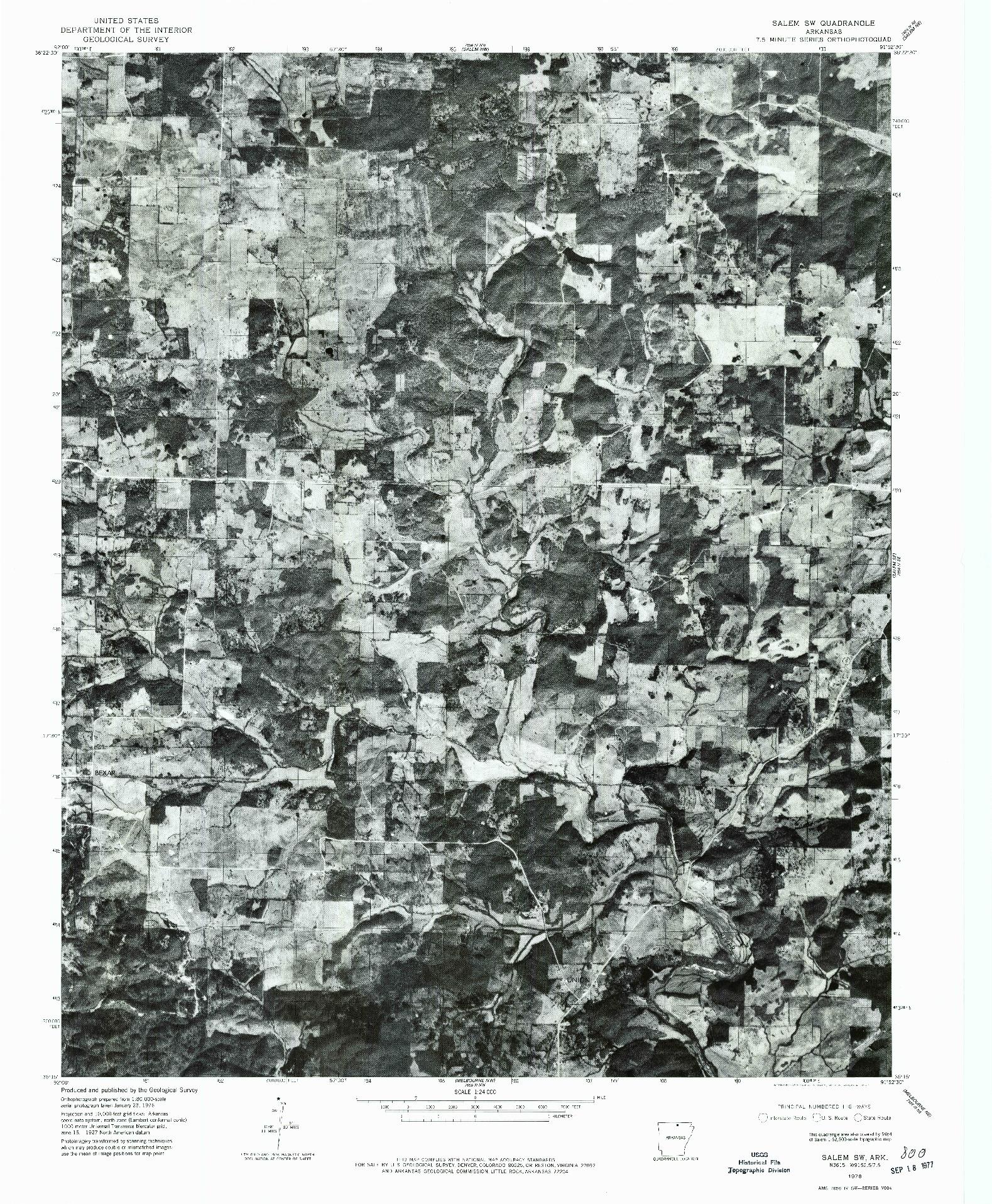 USGS 1:24000-SCALE QUADRANGLE FOR SALEM SW, AR 1976
