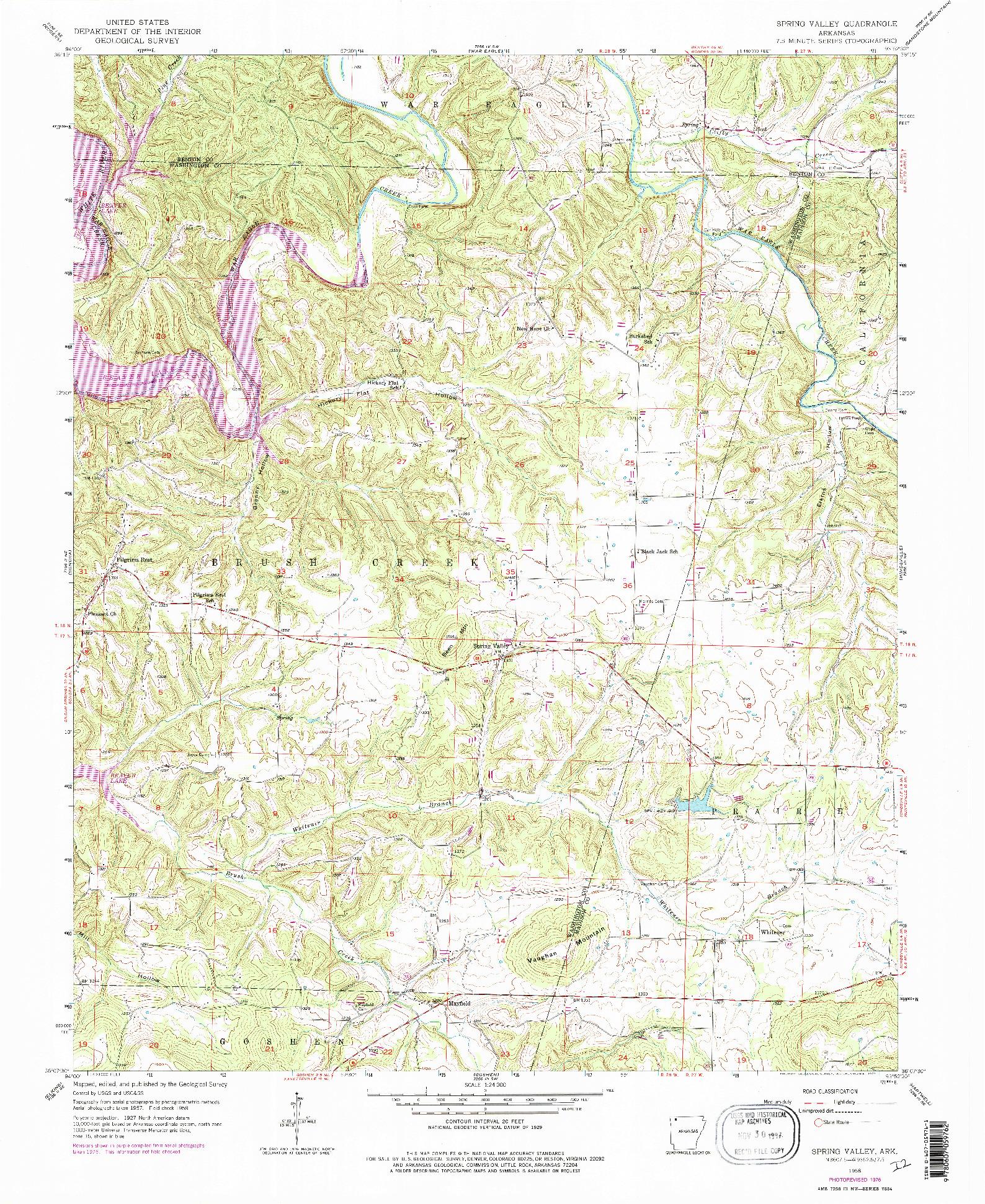 USGS 1:24000-SCALE QUADRANGLE FOR SPRING VALLEY, AR 1958