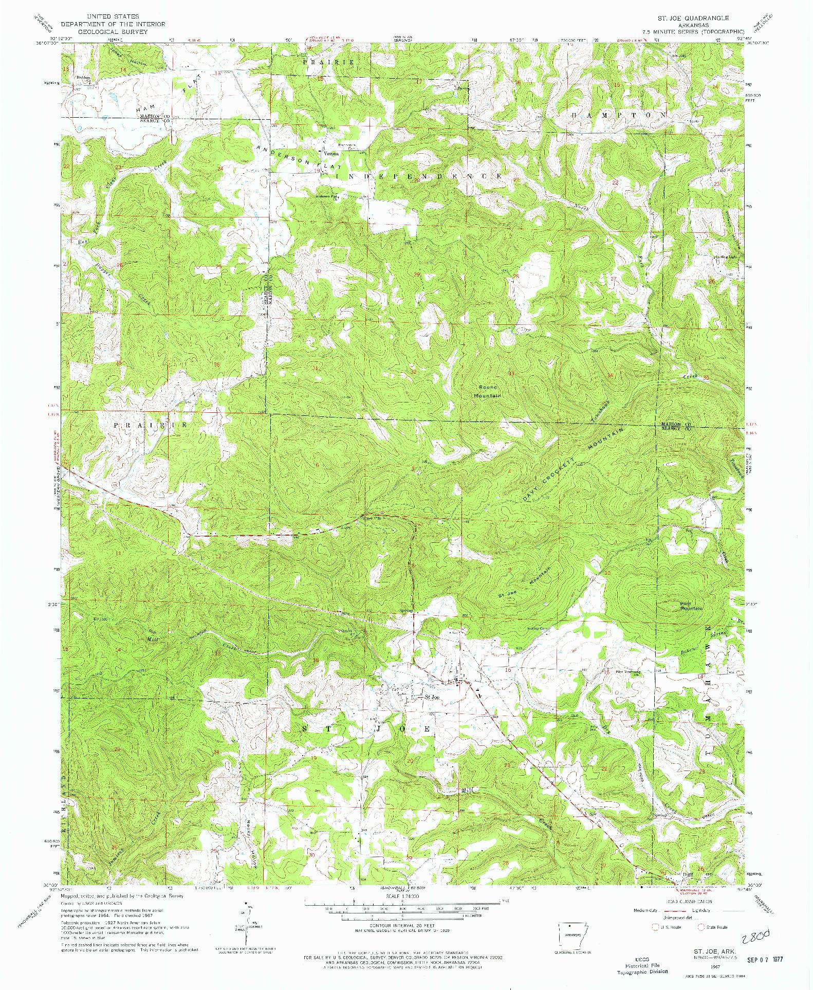 USGS 1:24000-SCALE QUADRANGLE FOR ST. JOE, AR 1967