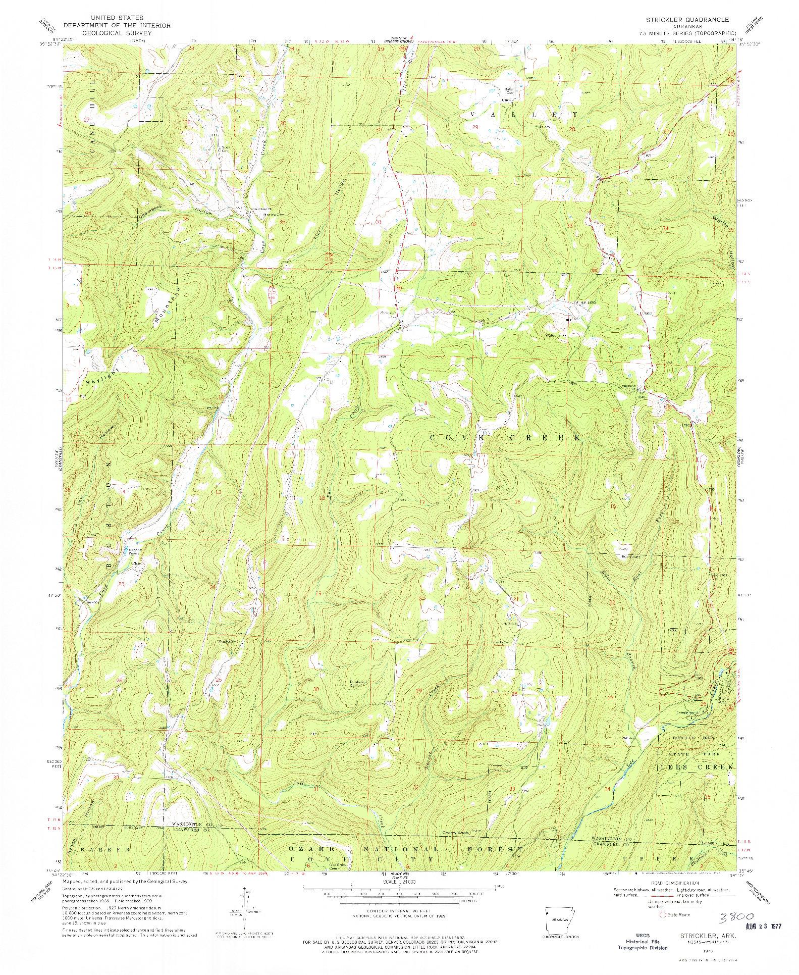 USGS 1:24000-SCALE QUADRANGLE FOR STRICKLER, AR 1970