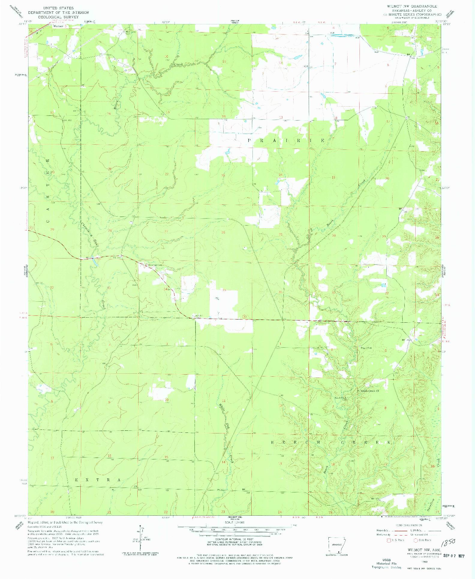 USGS 1:24000-SCALE QUADRANGLE FOR WILMOT NW, AR 1960