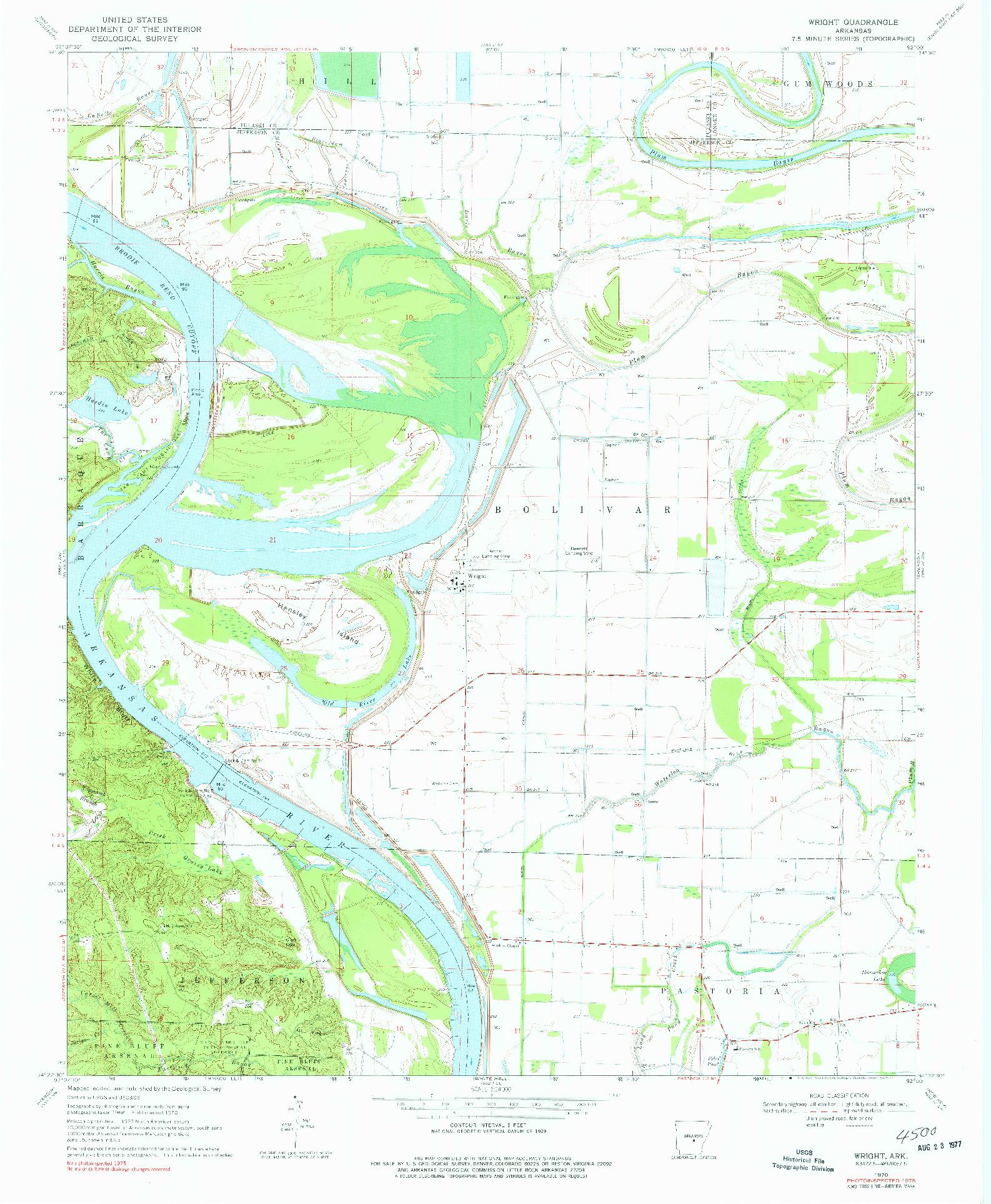 USGS 1:24000-SCALE QUADRANGLE FOR WRIGHT, AR 1970