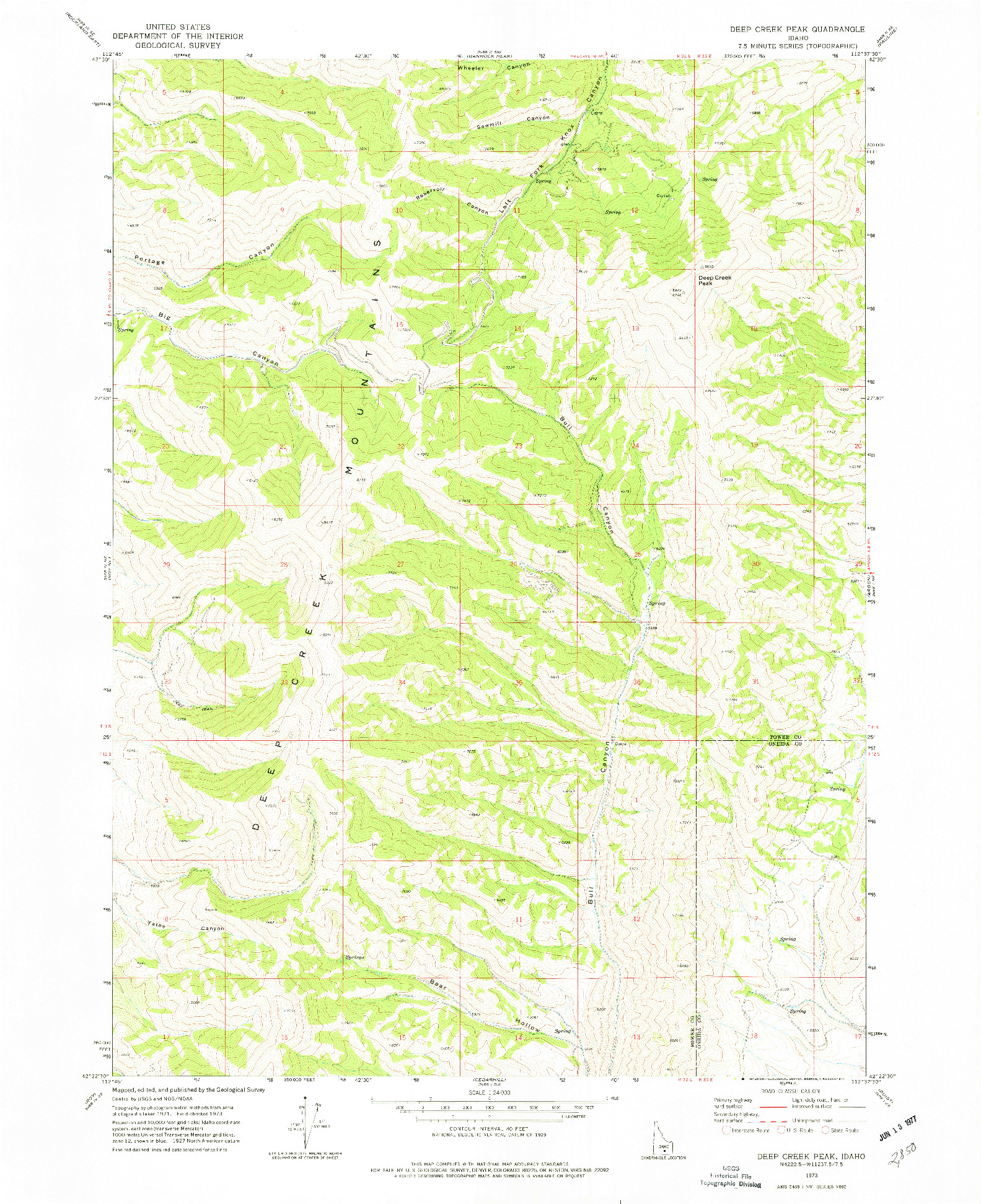 USGS 1:24000-SCALE QUADRANGLE FOR DEEP CREEK PEAK, ID 1973