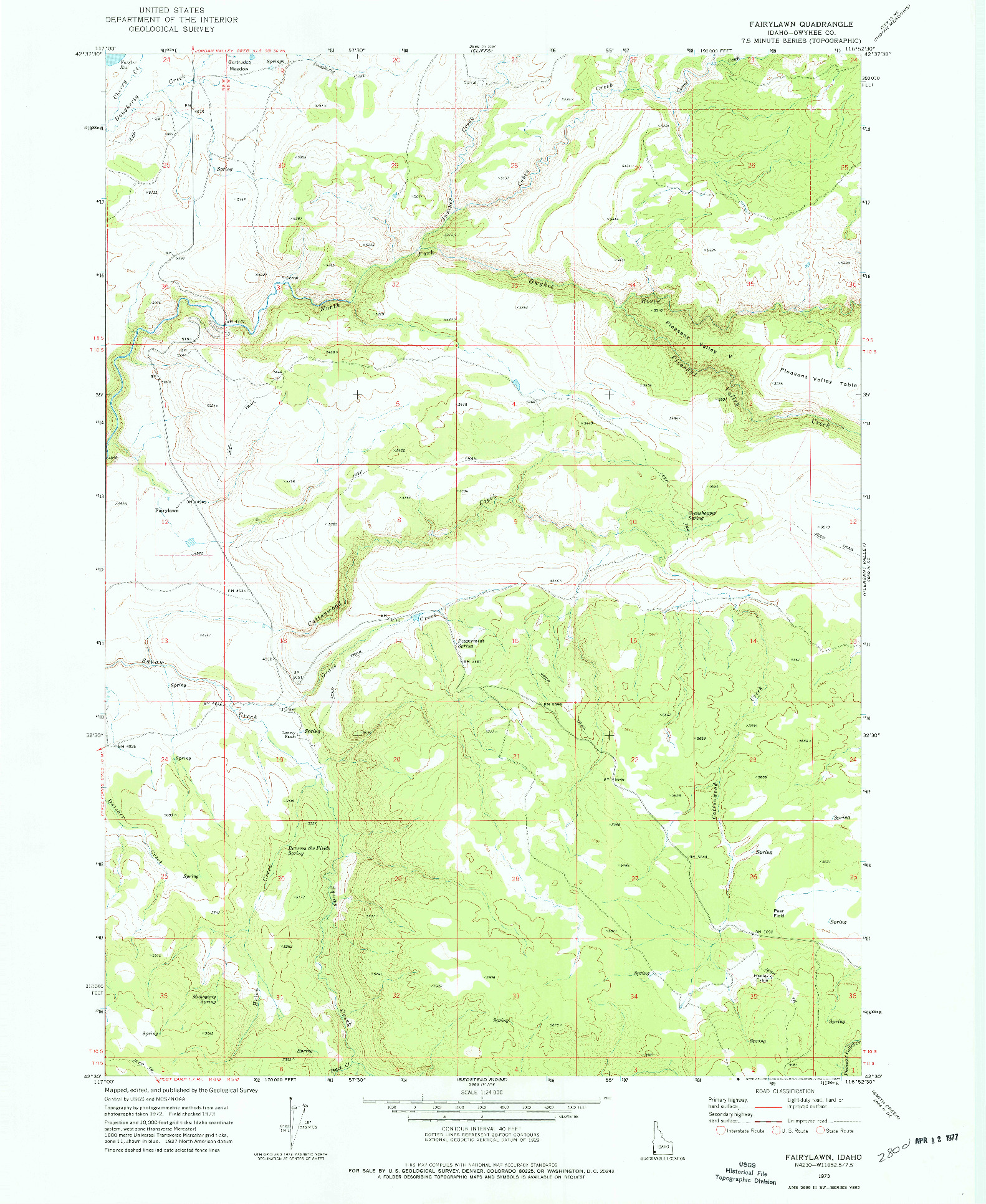 USGS 1:24000-SCALE QUADRANGLE FOR FAIRYLAWN, ID 1973