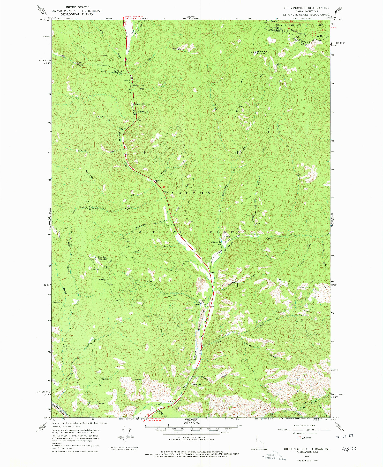 USGS 1:24000-SCALE QUADRANGLE FOR GIBBONSVILLE, ID 1966