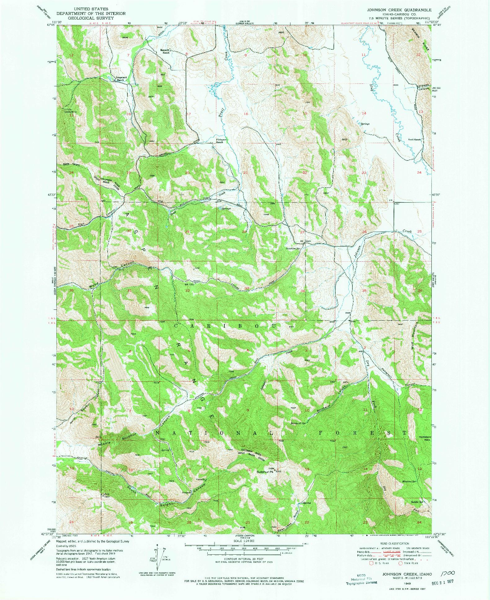 USGS 1:24000-SCALE QUADRANGLE FOR JOHNSON CREEK, ID 1949