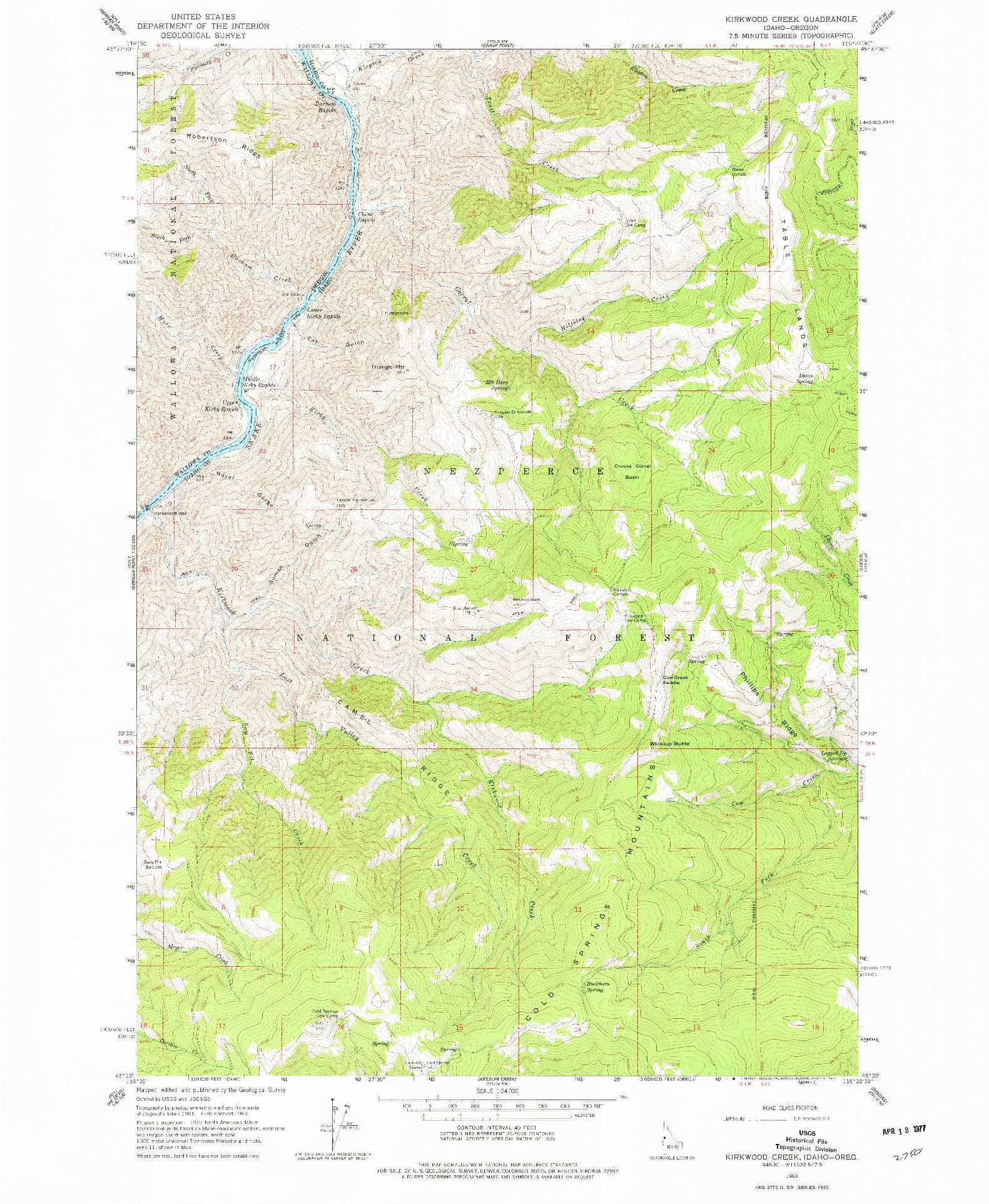 USGS 1:24000-SCALE QUADRANGLE FOR KIRKWOOD CREEK, ID 1963