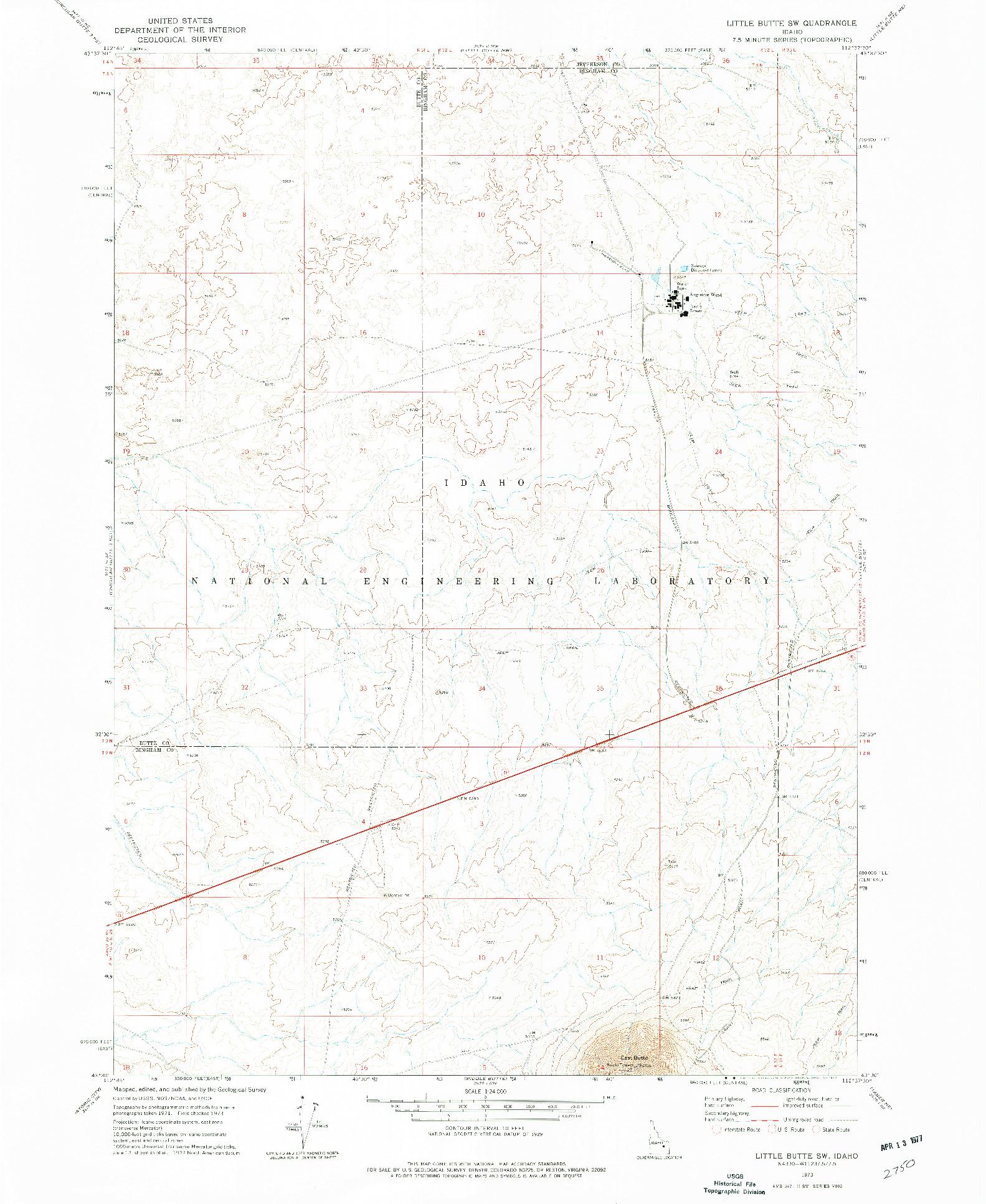 USGS 1:24000-SCALE QUADRANGLE FOR LITTLE BUTTE SW, ID 1973