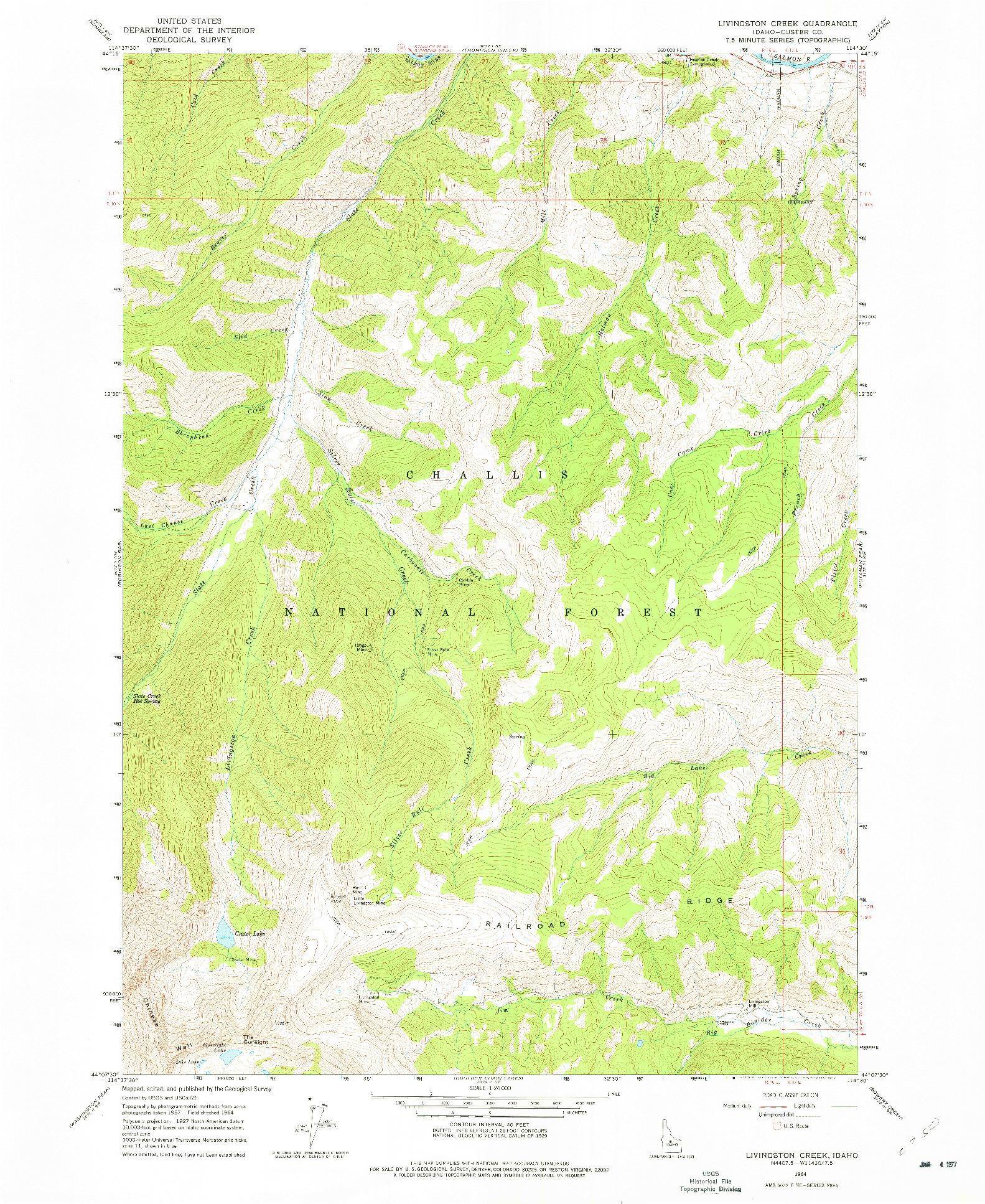 USGS 1:24000-SCALE QUADRANGLE FOR LIVINGSTON CREEK, ID 1964
