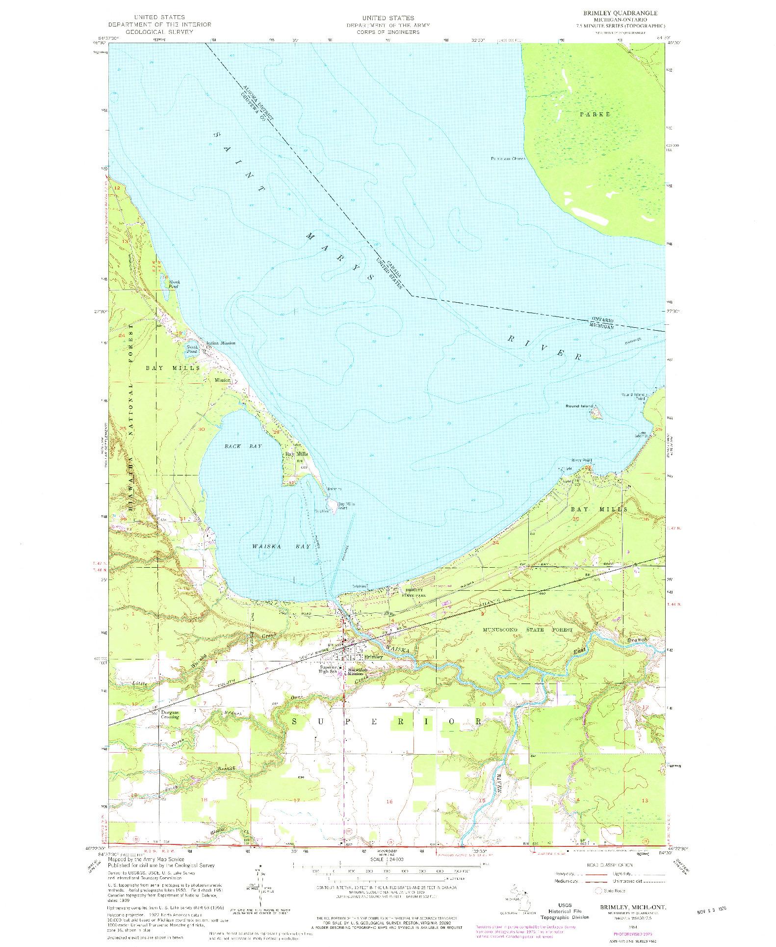 USGS 1:24000-SCALE QUADRANGLE FOR BRIMLEY, MI 1951