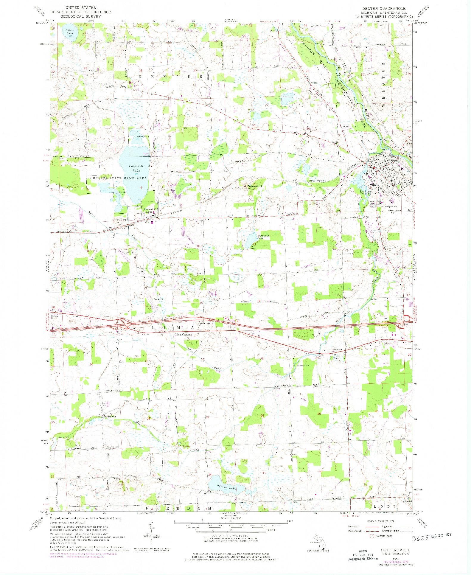 USGS 1:24000-SCALE QUADRANGLE FOR DEXTER, MI 1964